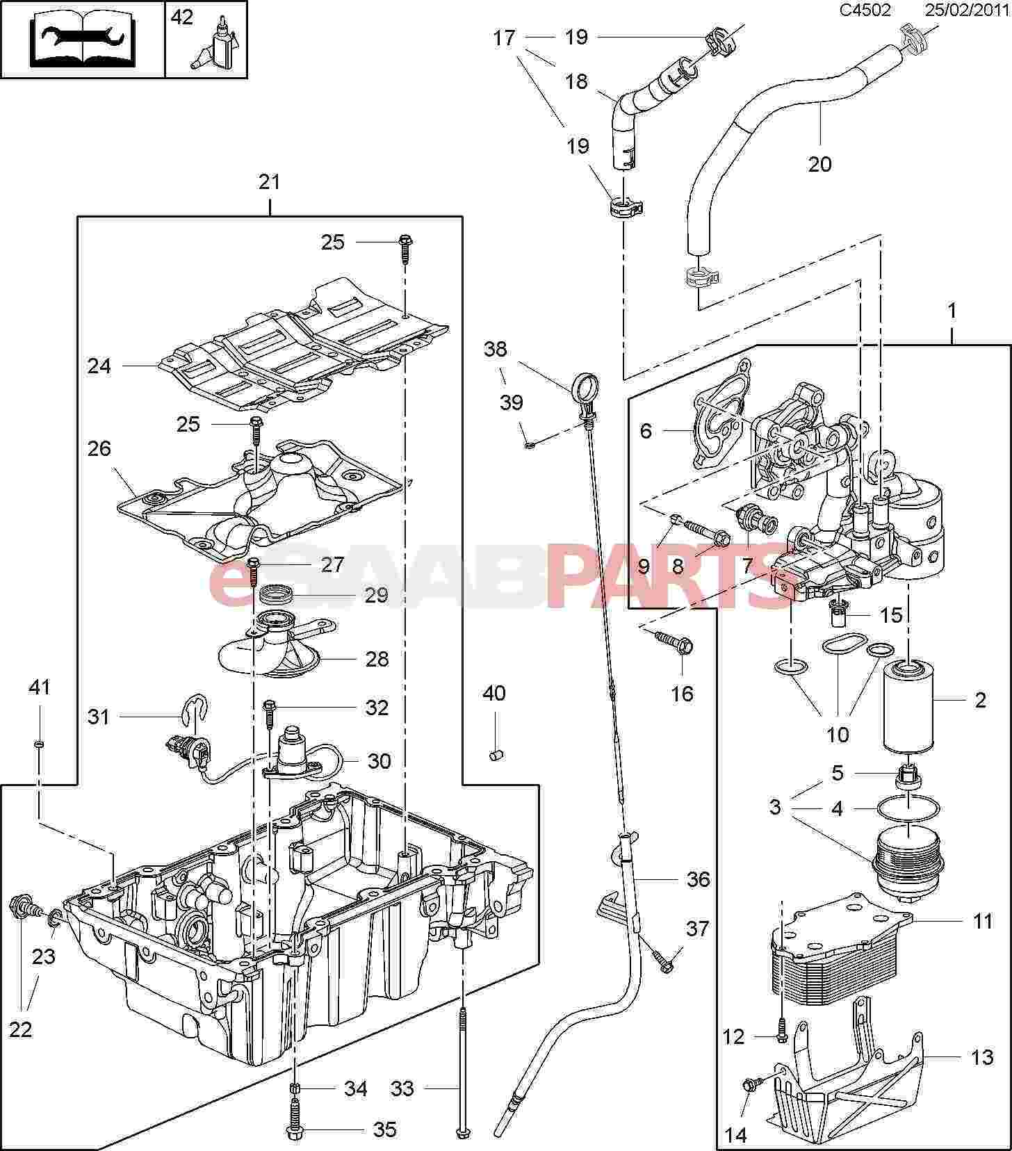 93186310 saab oil filter insert 2 8t genuine saab parts from rh esaabparts com Saab 9 3 1999 Serpentine Belt Saab Parts Diagram