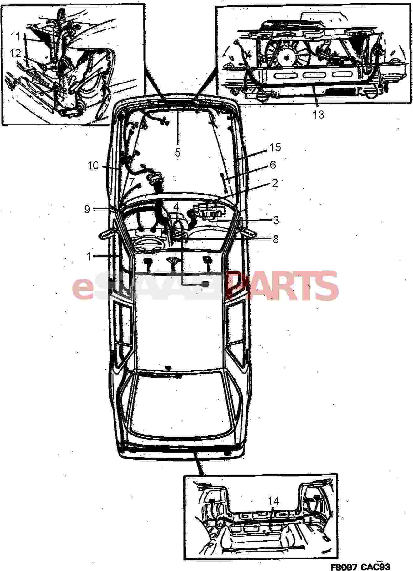 Saab 9000 Electrical Parts Wiring Harness Rac Diagram For Car Main And Engine Comp