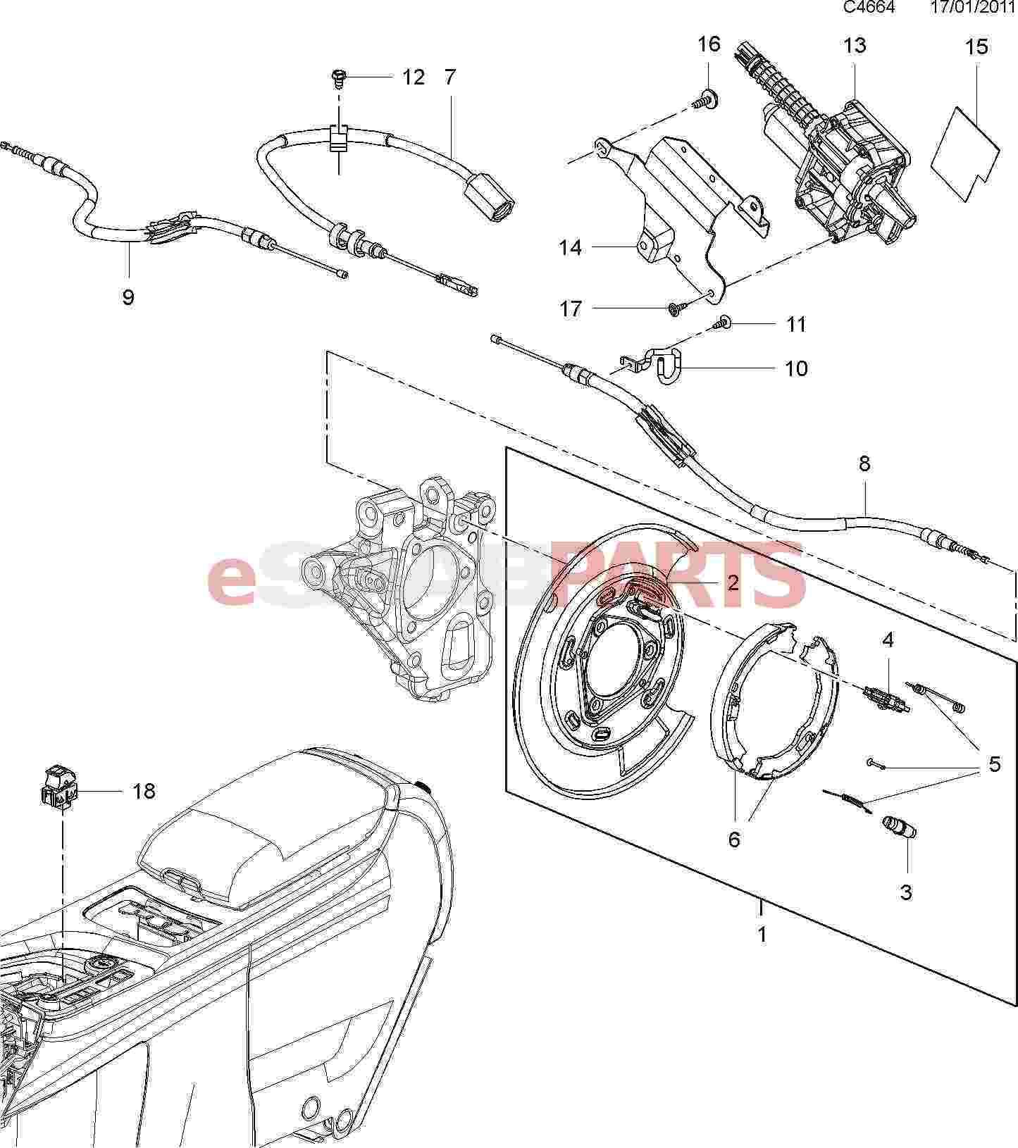 Saab 9 4x 168 Brakes Parts Parking Brake Emergency Diagram Electric