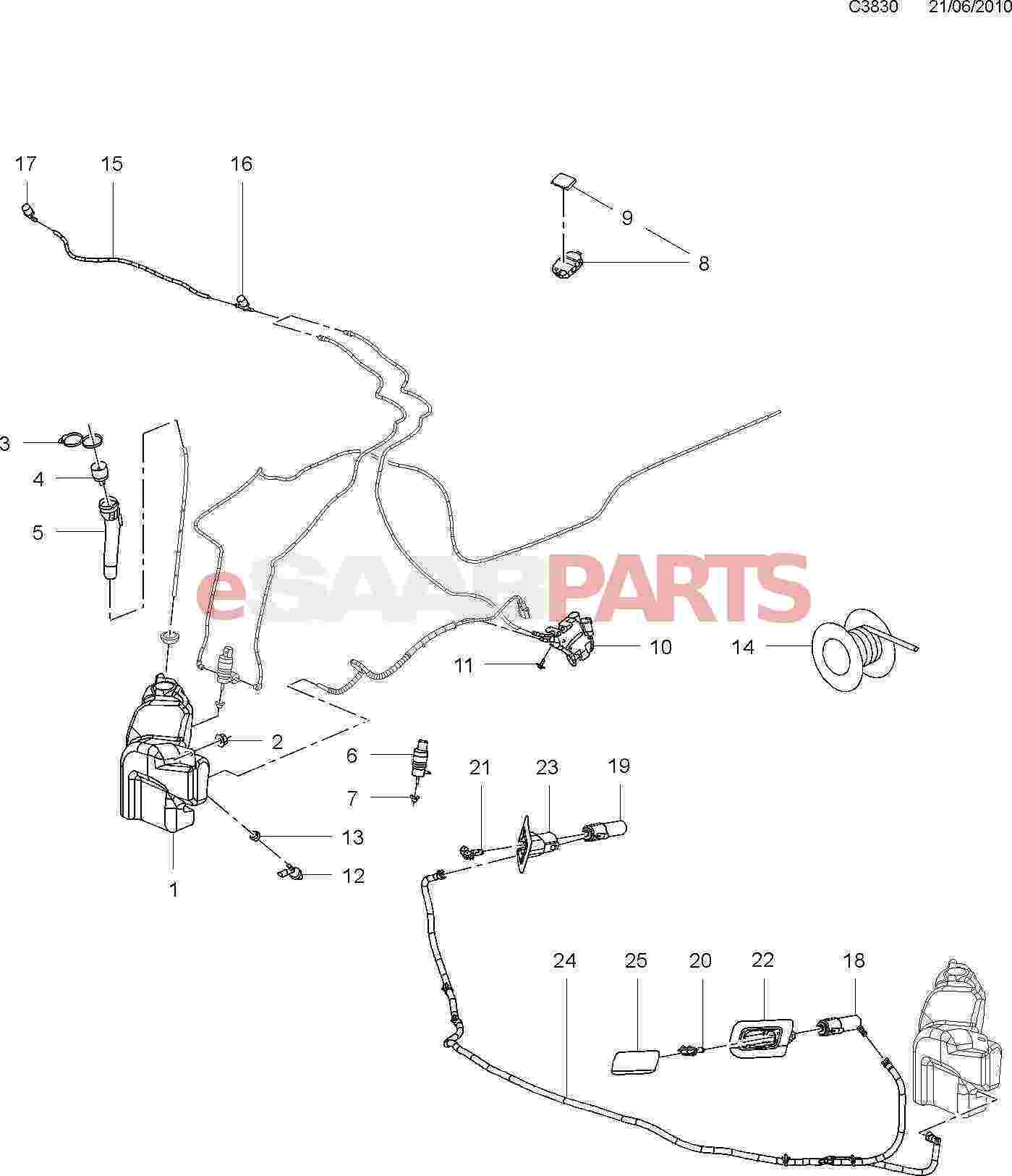 eSaabParts.com - Saab 9-5 (650) > Electrical Parts > Wipers & Washing  System > Washer System & Headlamp Washers