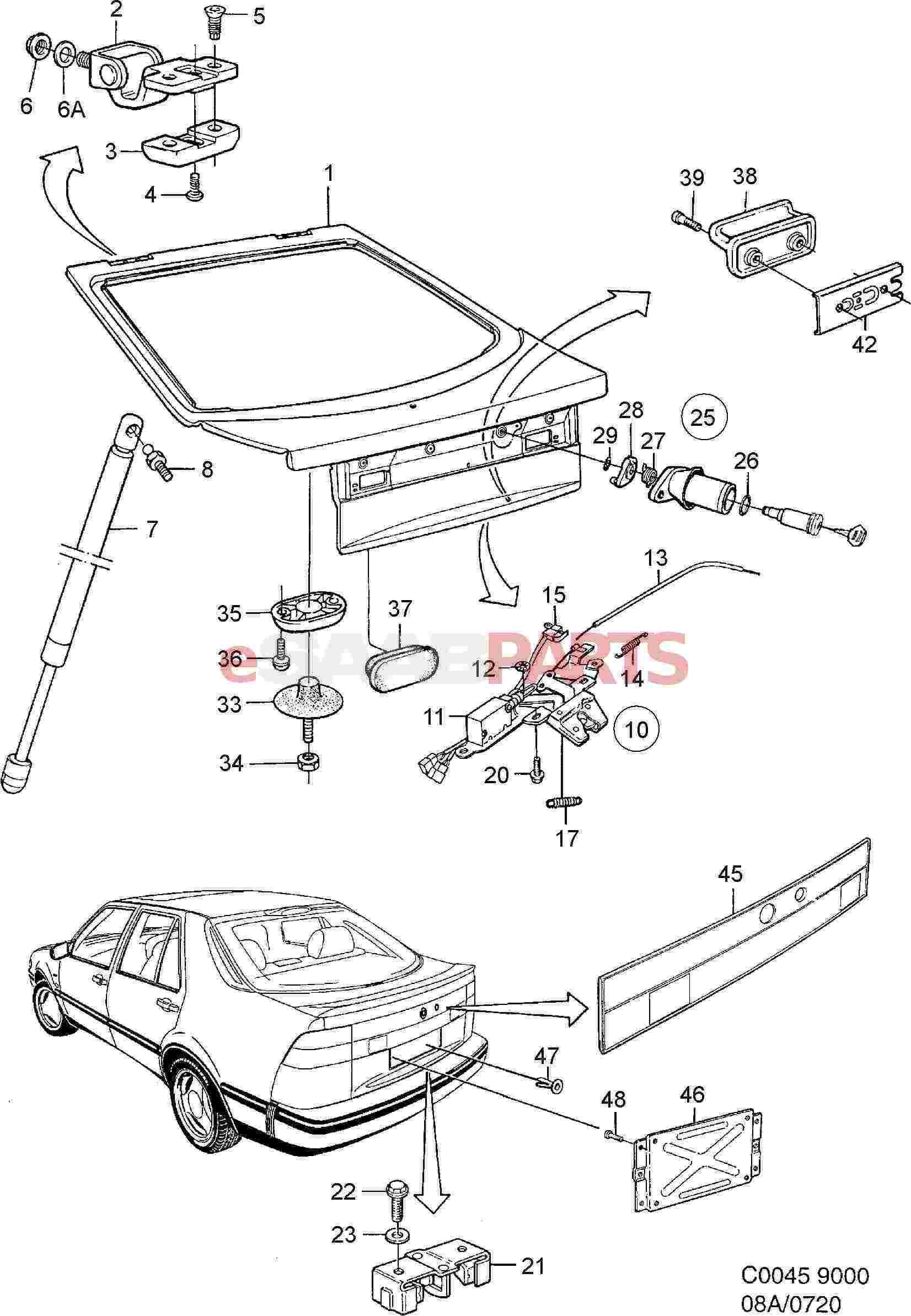 30541916  Saab Trunk Lid Hatch  O Rear