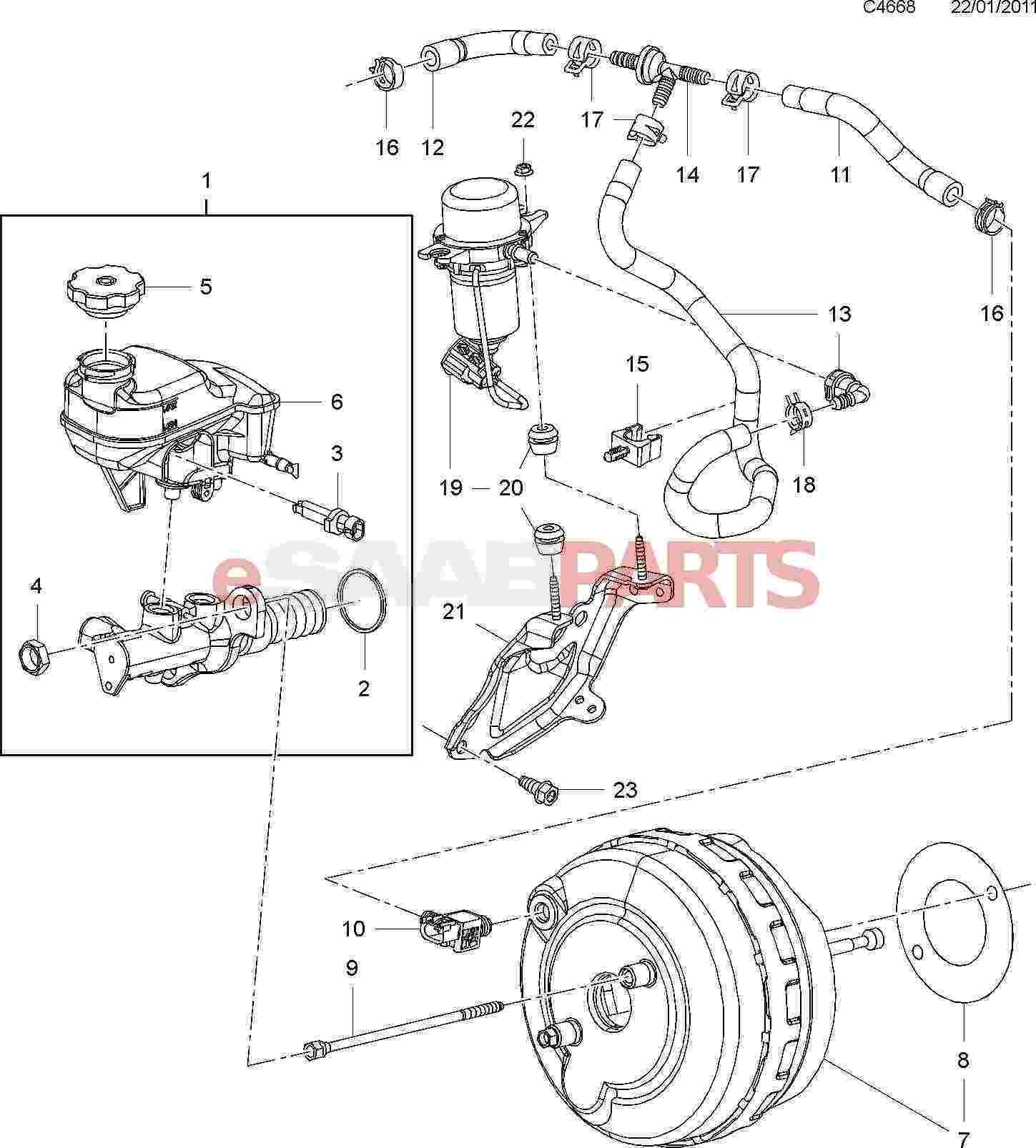 Saab 9 4x 168 Brakes Parts Brake Master Vacuum Pump Diagram Cylinder 30l