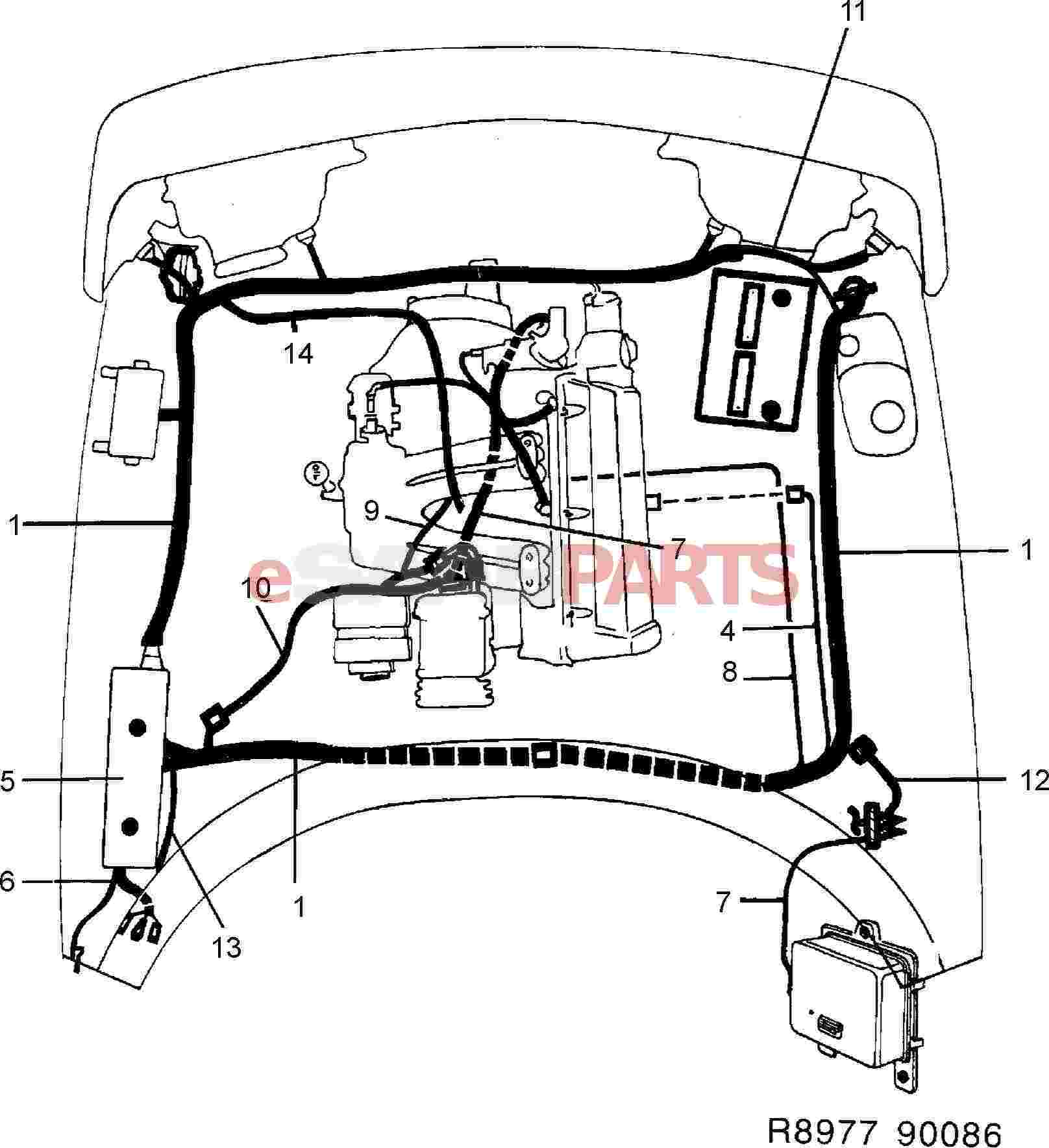 eSaabParts.com - Saab 900 > Electrical Parts > Wiring Harness > Front and  engine