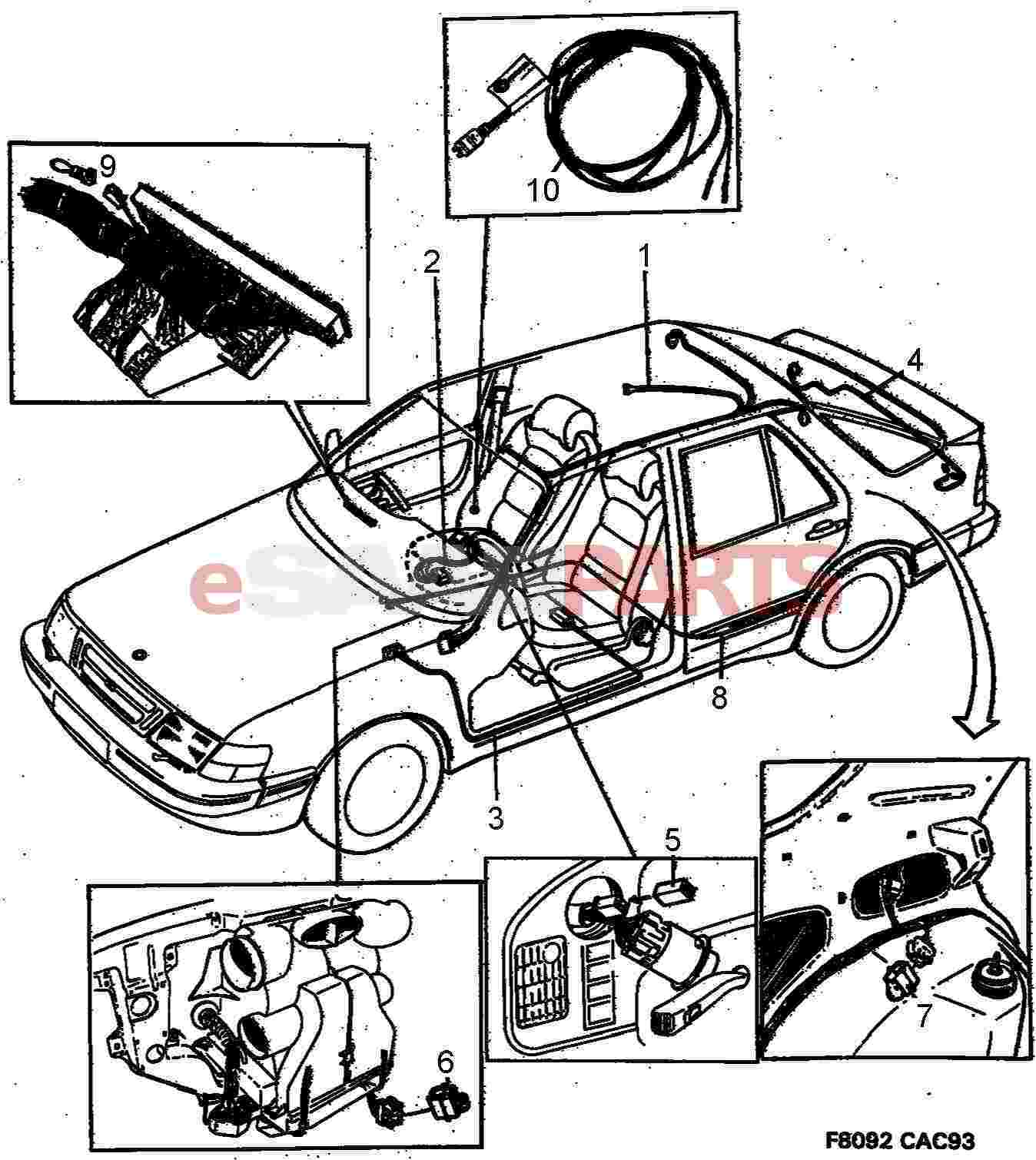 Saab 9000 Electrical Parts Wiring Harness Apc Compartment