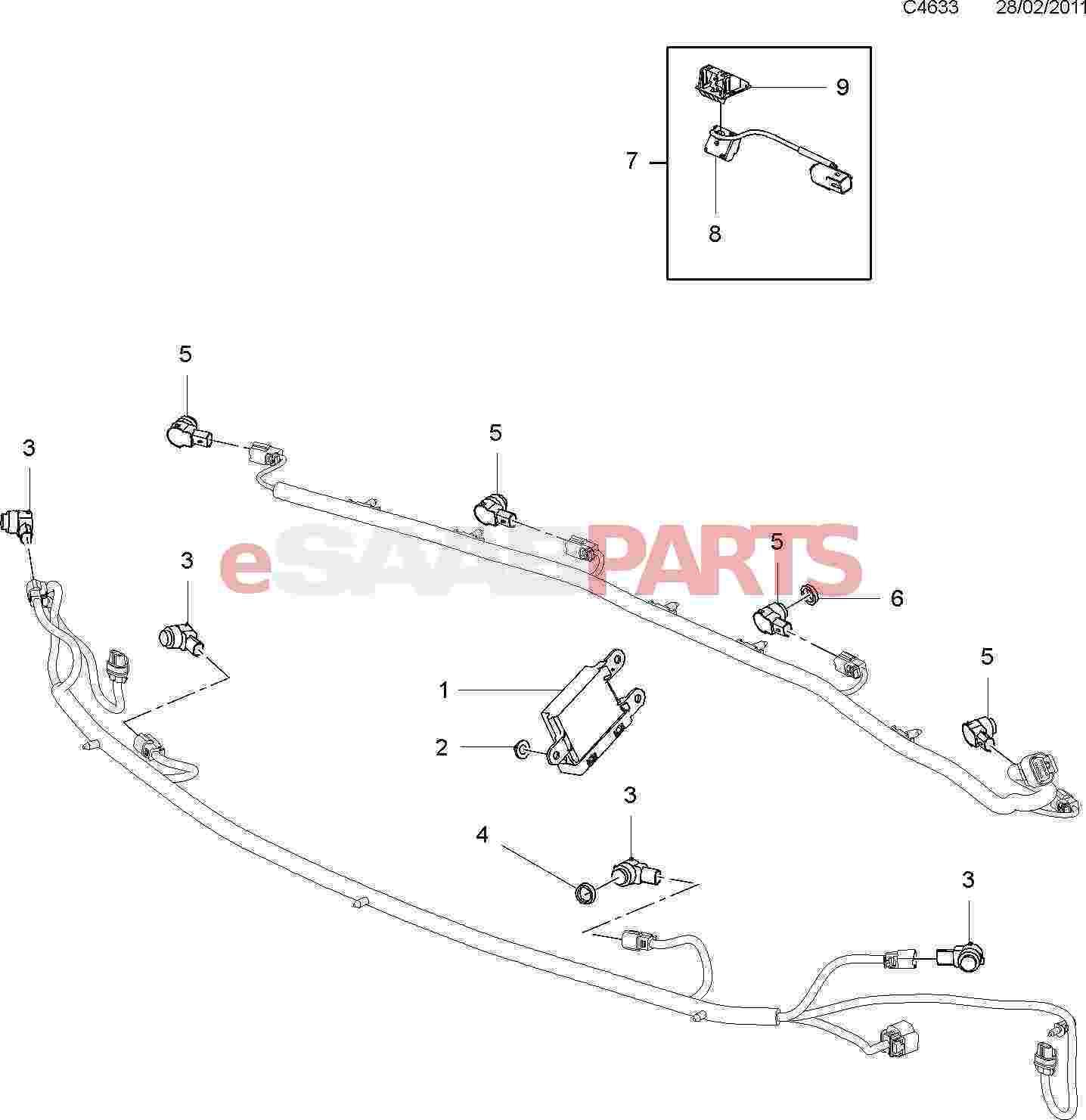 Saab Parking Sensor Wiring Diagram Library Esaabpartscom 9 4x 168 Electrical Parts