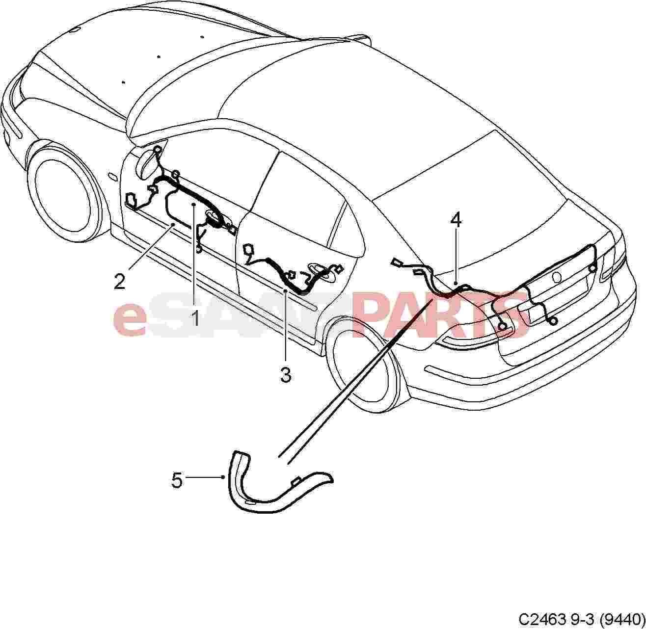 saab 9 5 tail lights diagram