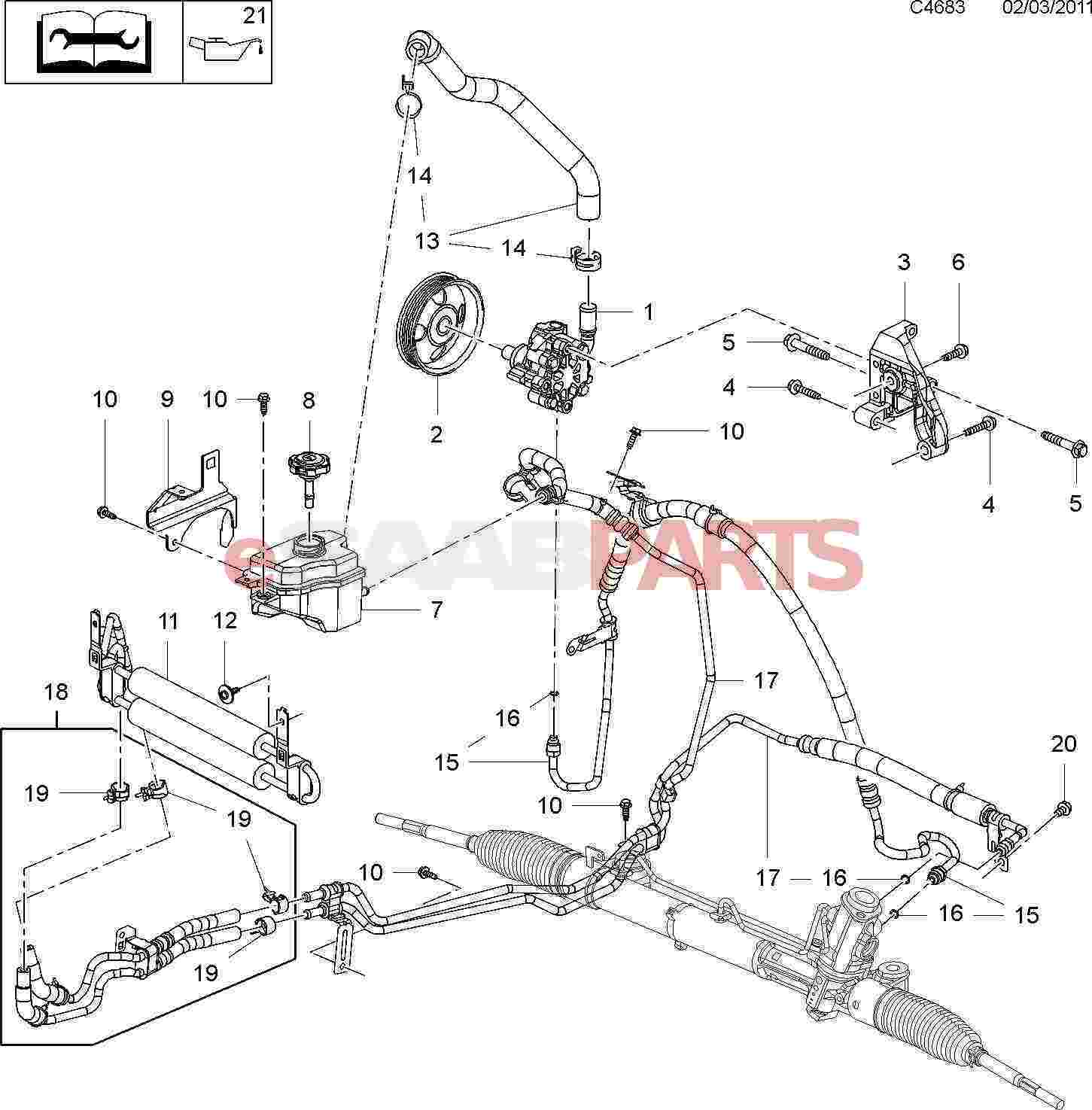 saab 9 3 power steering pump diagram