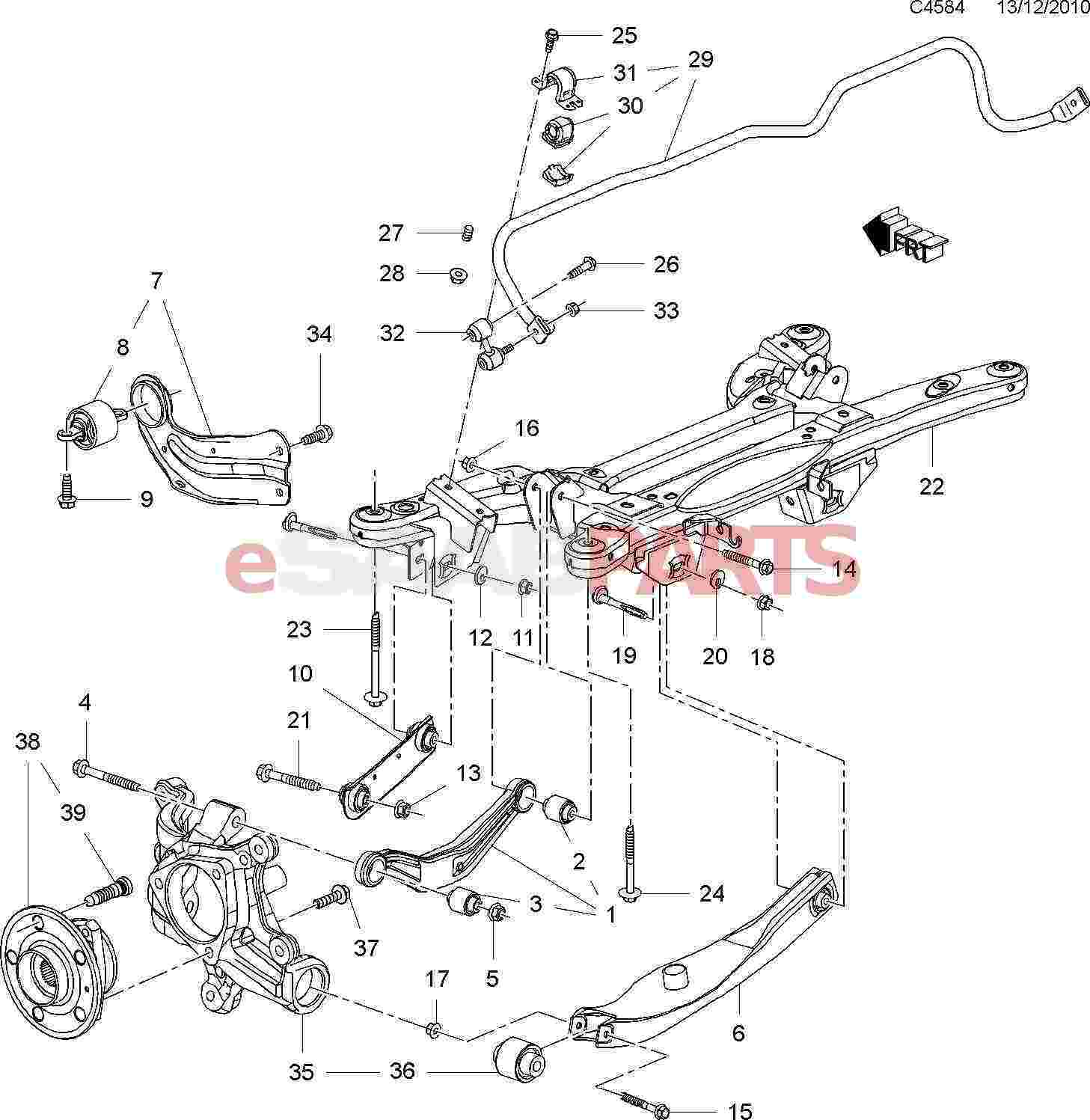 saab 9 5 rear suspension diagram