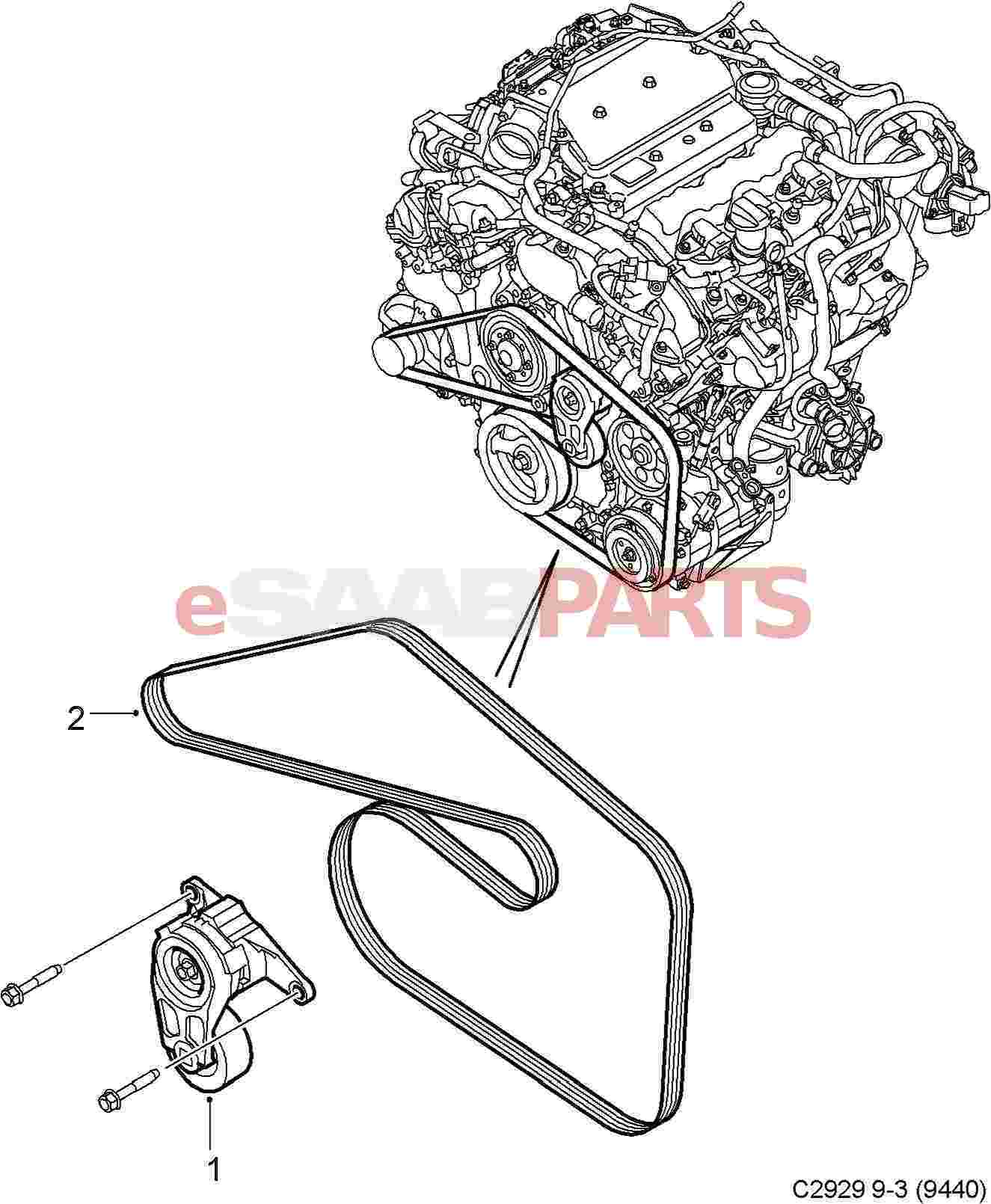 93185756  saab serpentine belt  2 8t v6 9-3