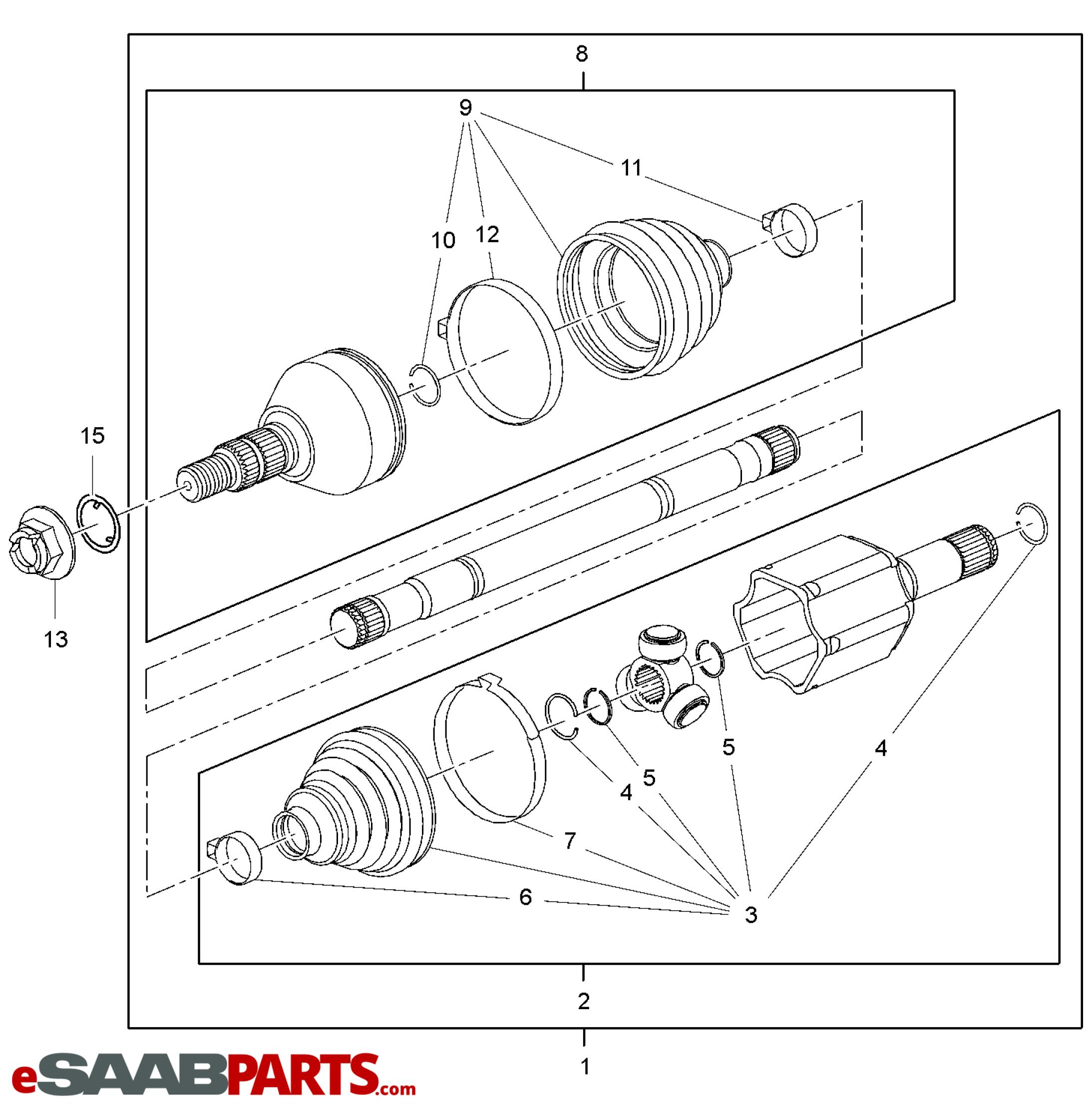 eSaabParts com - Saab 9-4X (168) > Transmission Parts > CV