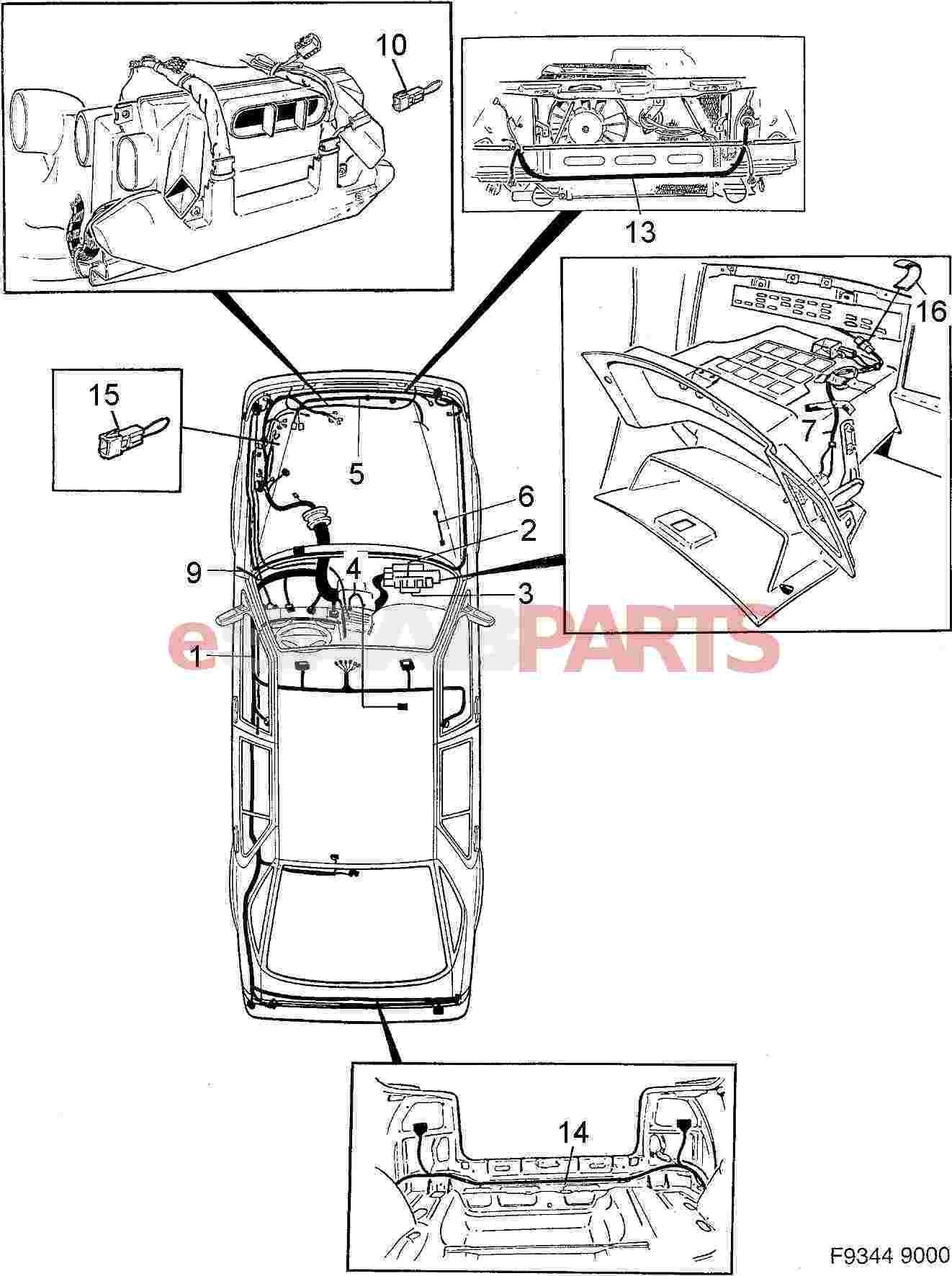 Saab 9000 Wiring Harness Download Diagrams Esaabparts Com U003e Electrical Parts Rh Gm Radio Diagram Scosche Stereo