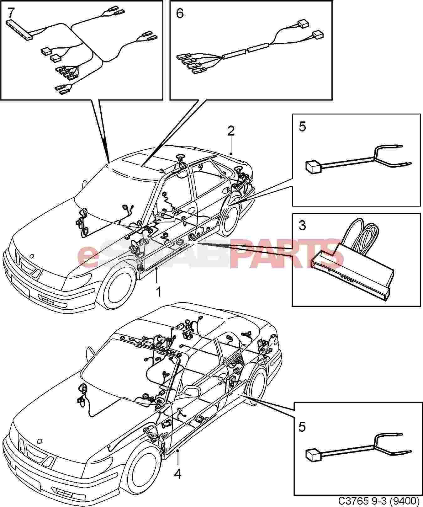 Saab 9 3 9400 Electrical Parts Wiring Harness Lighting Rear