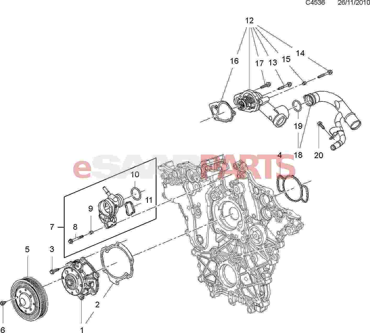 12638186  Saab Thermostat Housing Assembly  2 8t