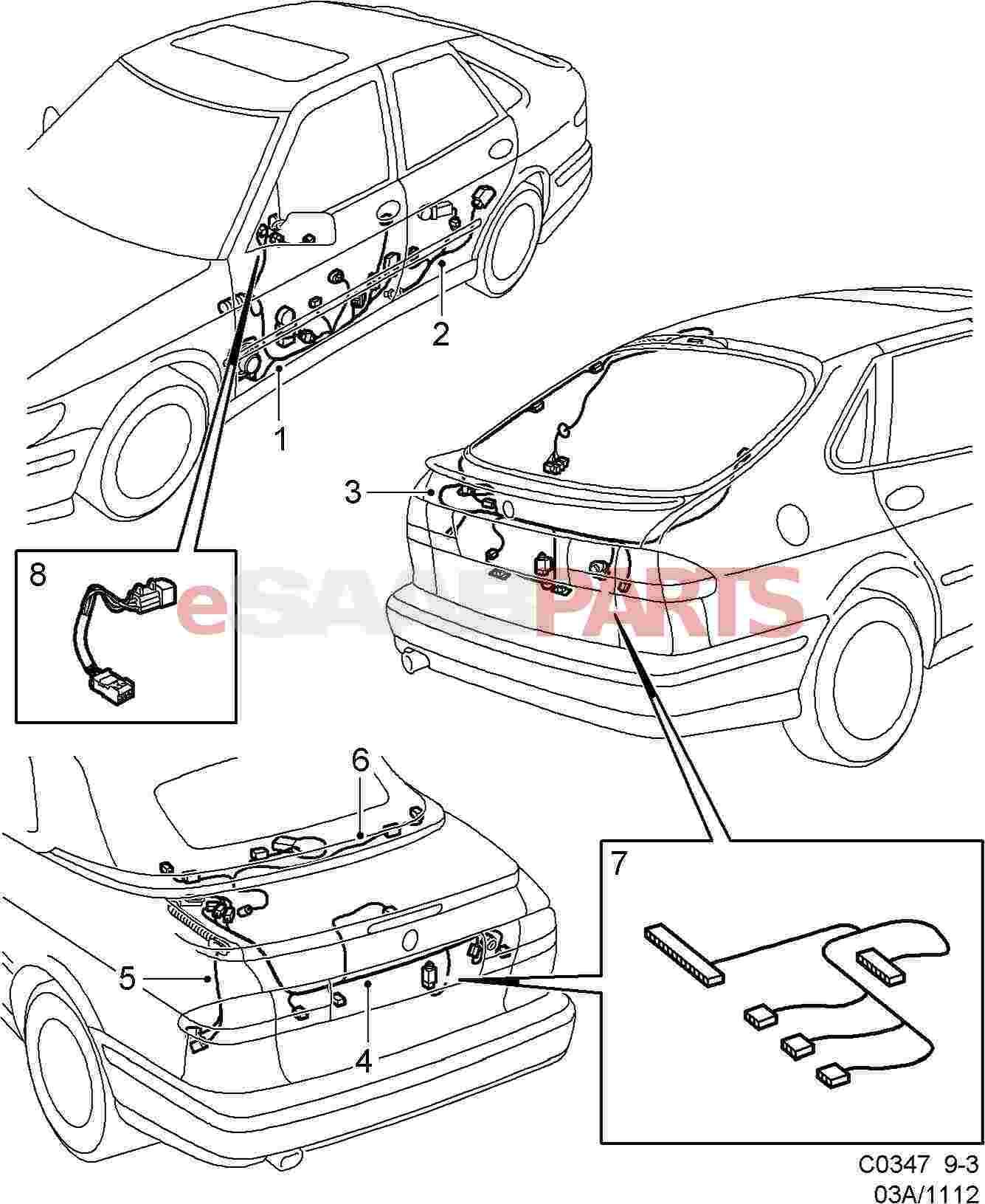eSaabParts.com - Saab 9-3 (9400) > Electrical Parts > Wiring Harness > Doors