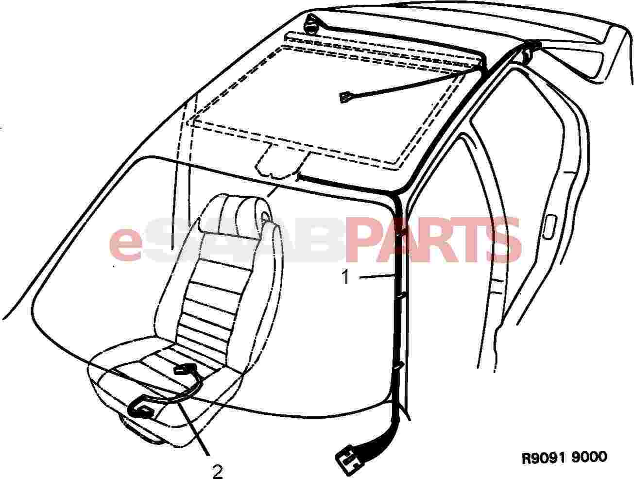 Saab 9000 Electrical Parts Wiring Harness Diagram Compartment