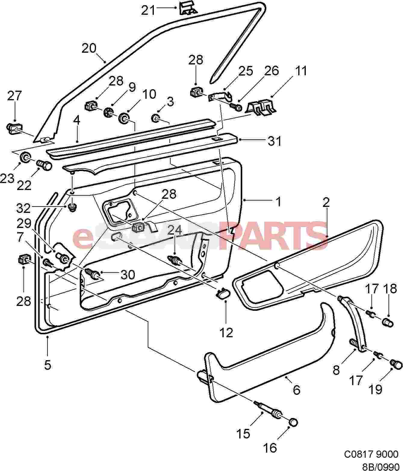 Car Door Parts. Diagram Image # 12 Car Door Parts ESaabParts.com ...