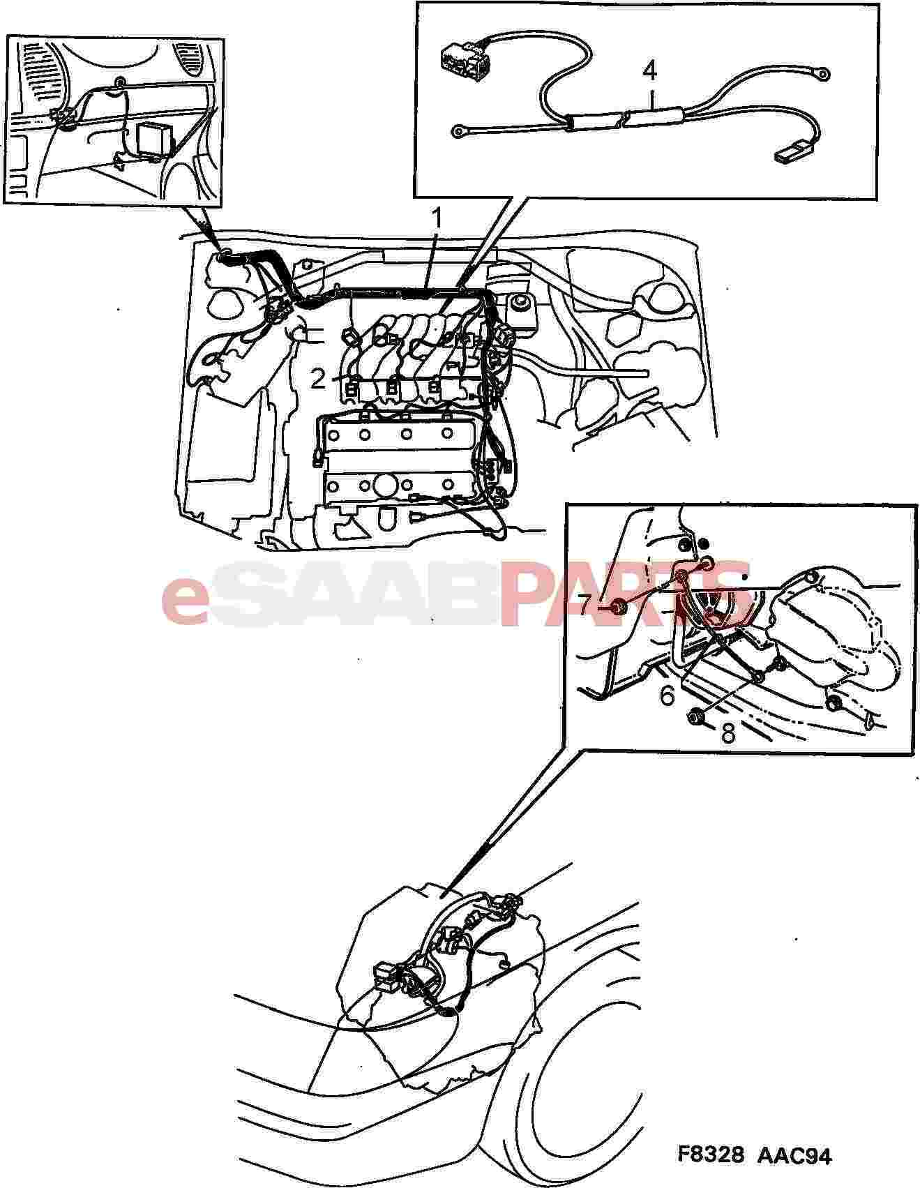 saab 900 transmission part diagram