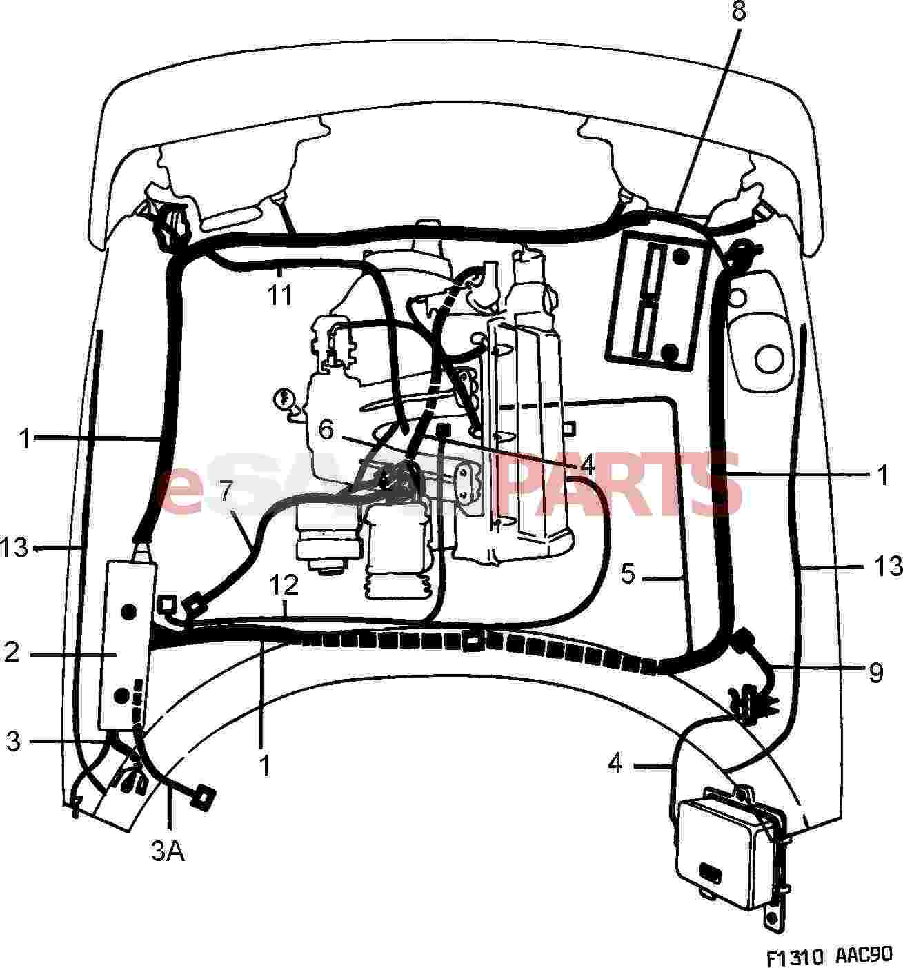 Saab 900 Electrical Parts Wiring Harness Clipart Front And Engine