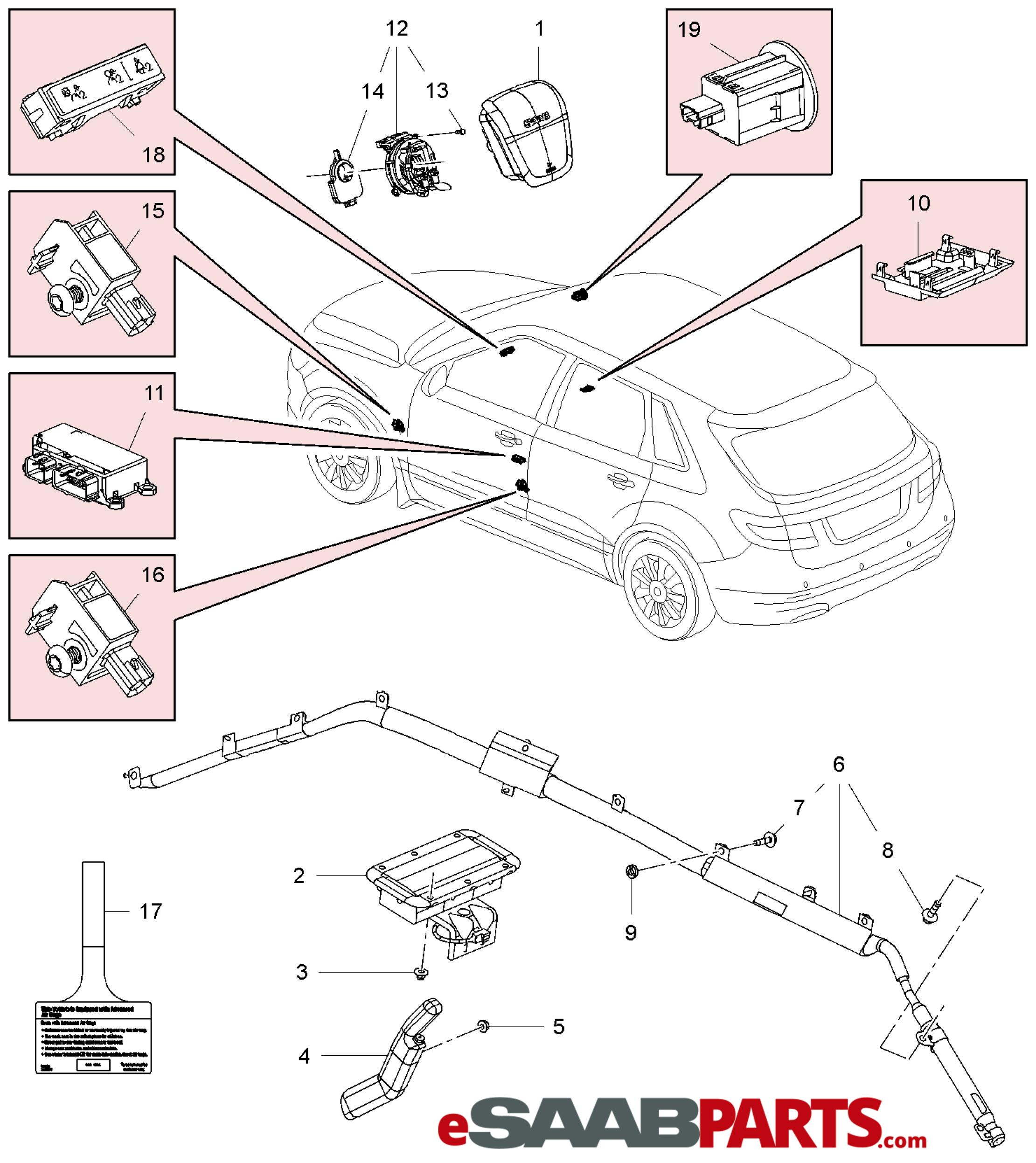 esaabparts com saab 9 4x (168) \u003e car body internal partsesaabparts com saab 9 4x (168) \u003e car body internal parts \u003e airbags \u003e airbag system