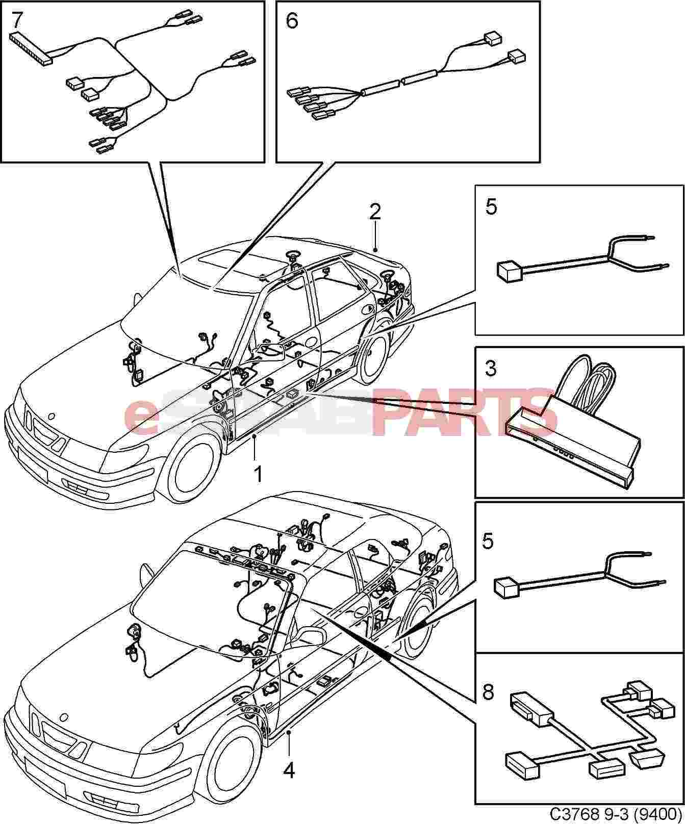 saab 9 3 tail light wiring harness