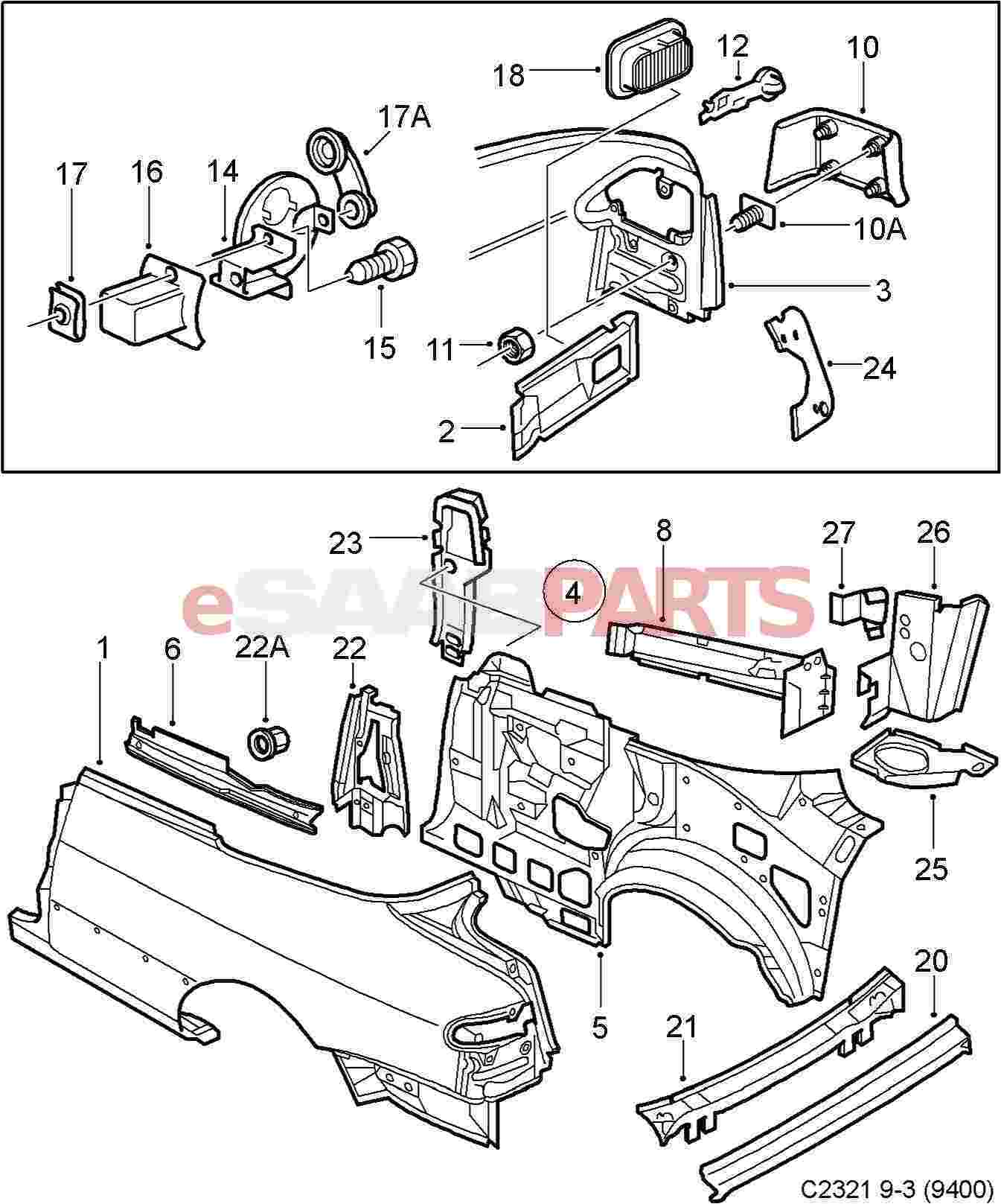 4541579  saab exhaust grille