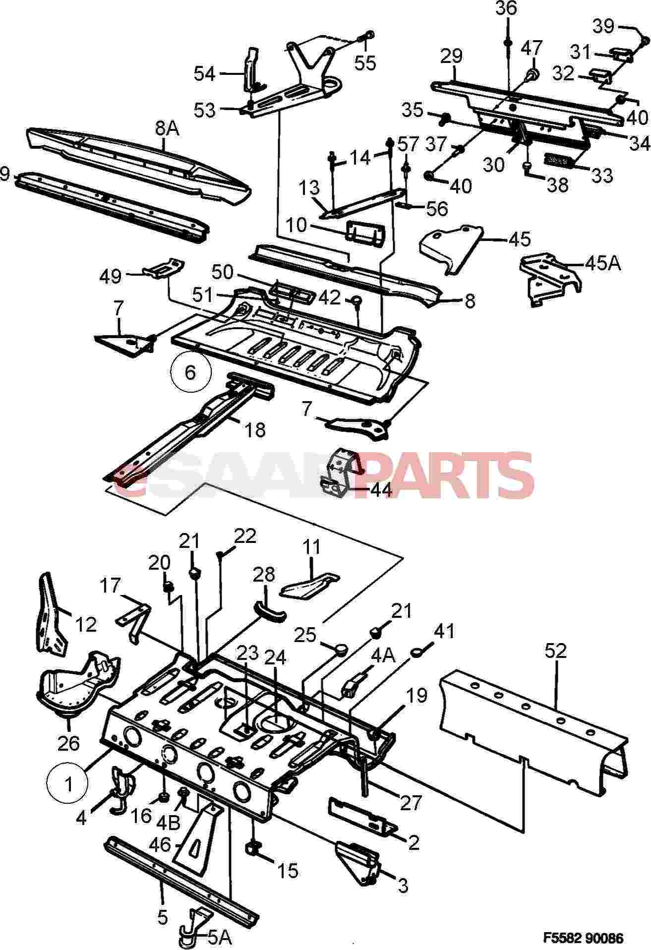 1984 saab 900 digram for a rear floor removable