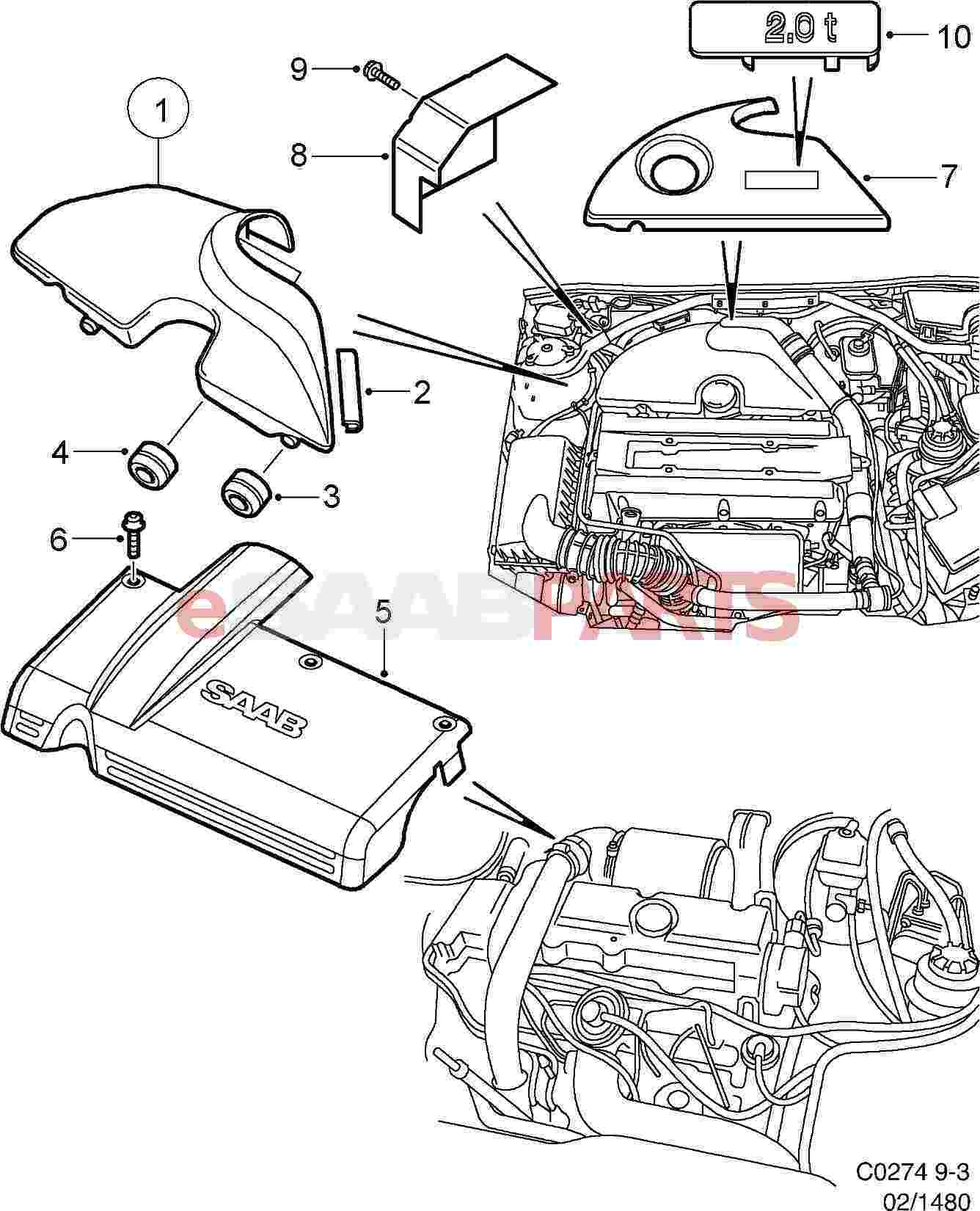 5956958 saab engine cover genuine saab parts from esaabparts com rh esaabparts com 2000 saab 9 3 engine diagram 2007 saab 9-3 engine diagram