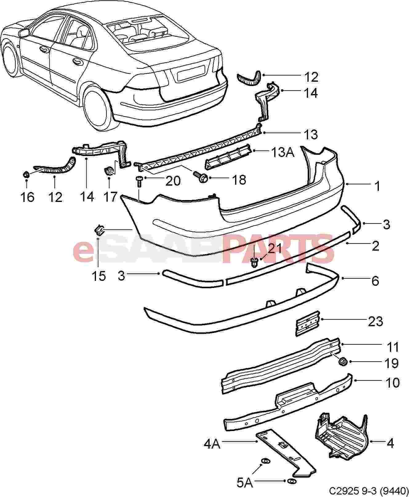 32016187  saab rear diffuser spoiler   dual