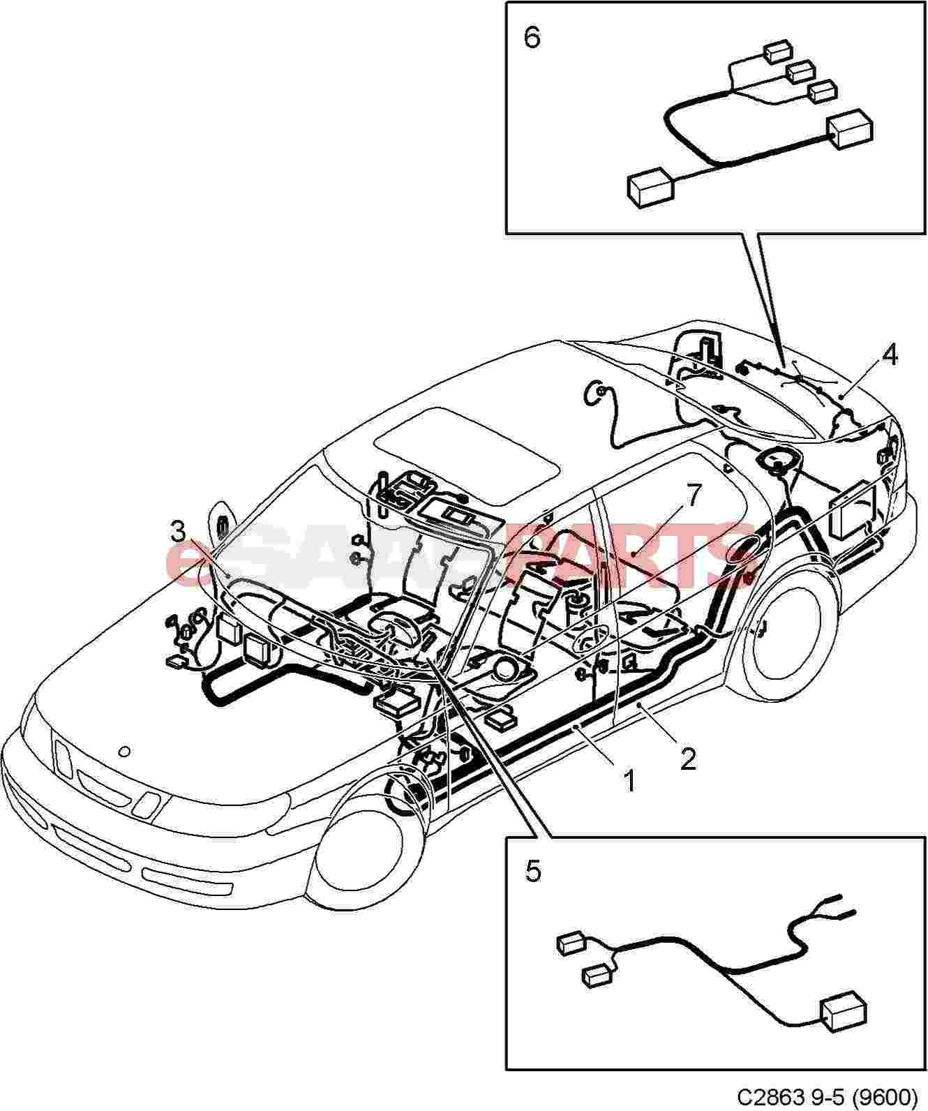 12778918  saab body wiring harness