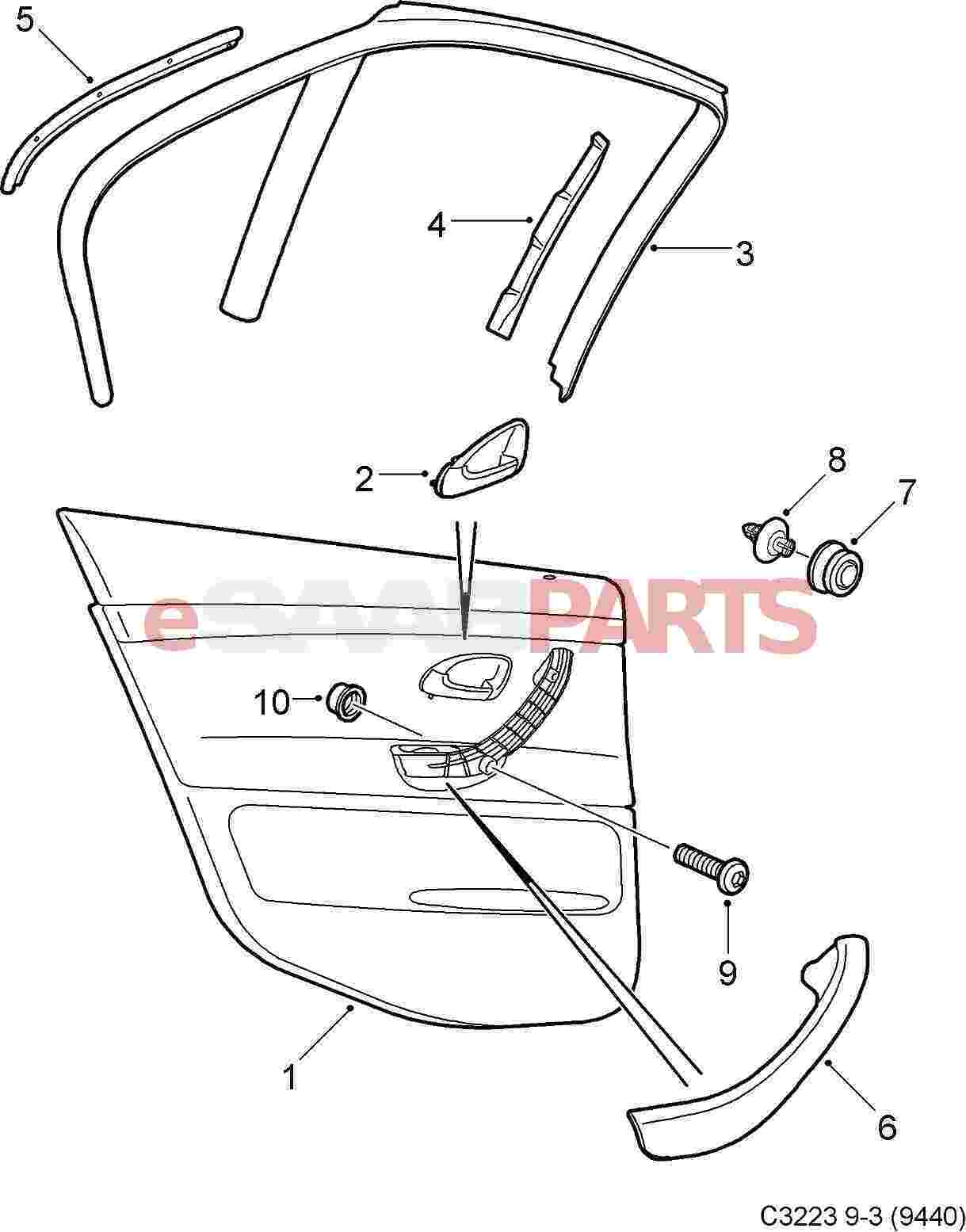 12778143 saab door handle cover inner rear rh genuine saab rh esaabparts com Saab Parts Diagram Saab 900 Engine Diagram