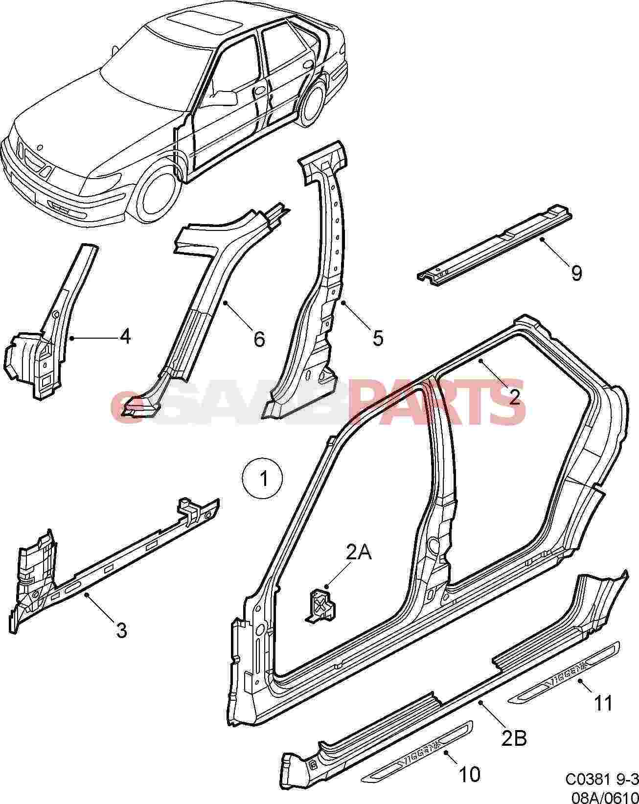 Auto Interior Diagram : Interior car door parts m