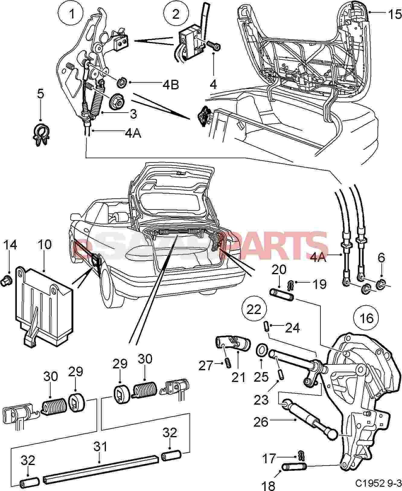 5184403 saab microswitch genuine saab parts from esaabparts com rh esaabparts com saab 900 parts diagram saab parts diagram online