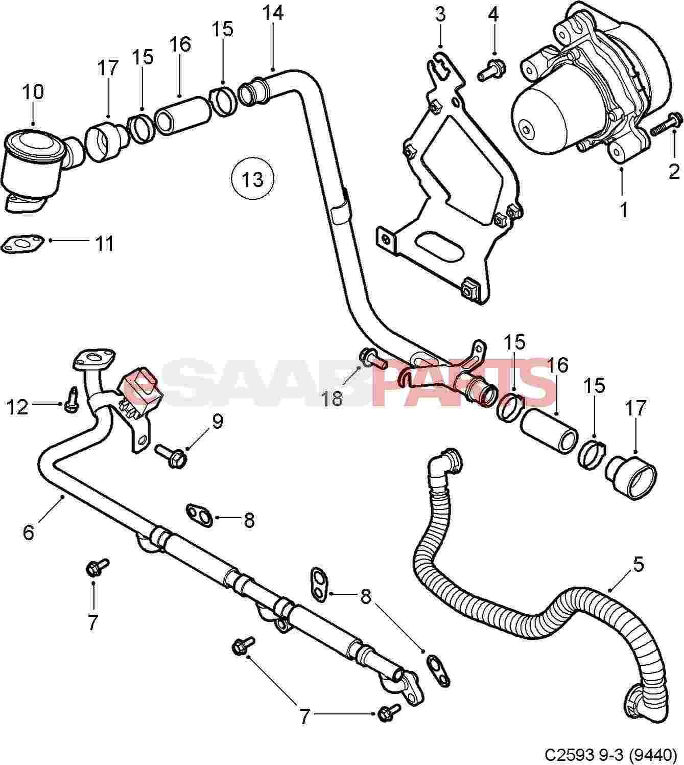 12791957 saab air pump genuine saab parts from esaabparts com rh esaabparts com Aro Air Diaphragm Pump Sandpiper Air Diaphragm Pump