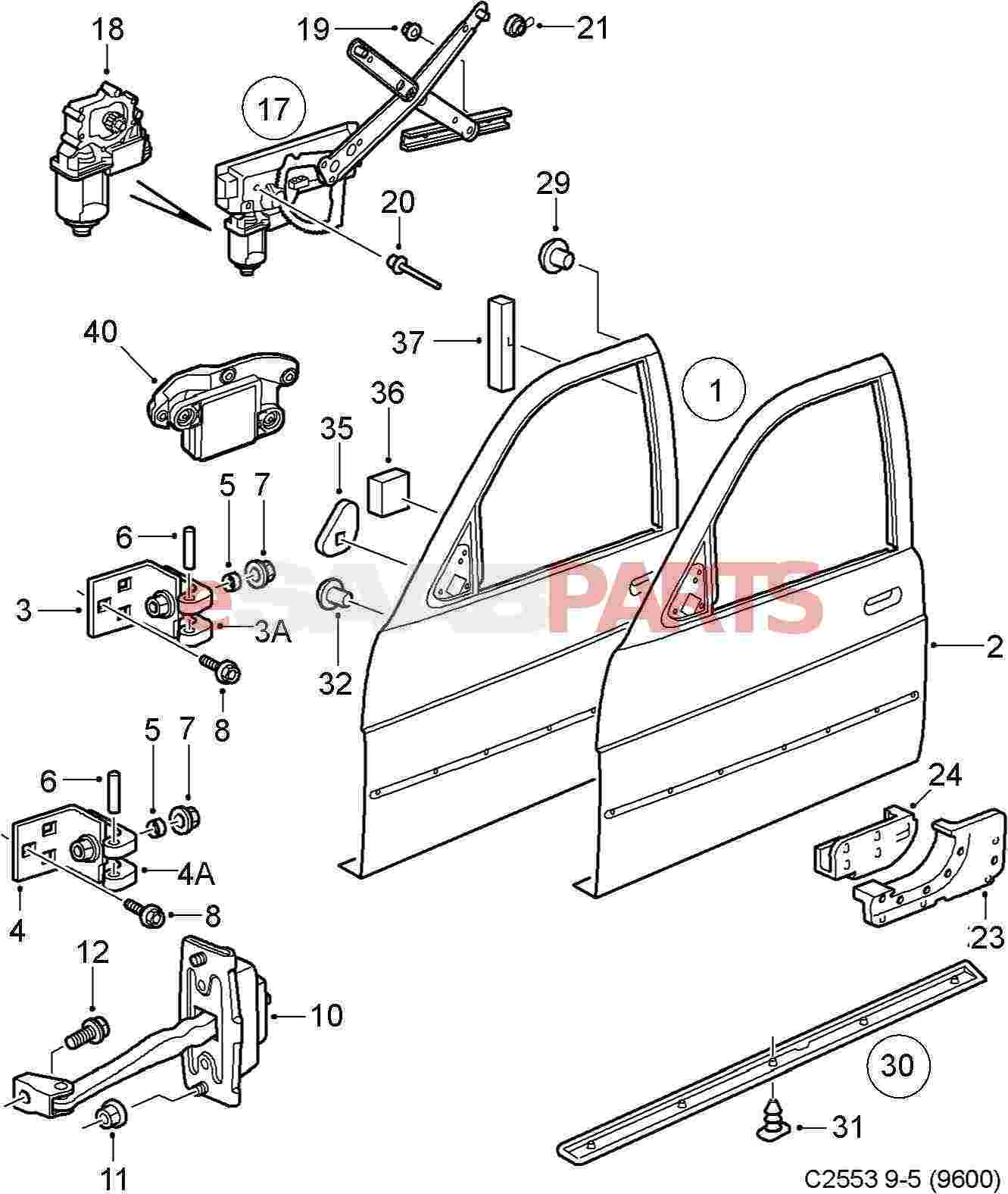 esaabparts com saab 9 5 9600 u003e car body external parts u003e door rh esaabparts com Saab 900 Engine Diagram Saab 900 Engine Diagram