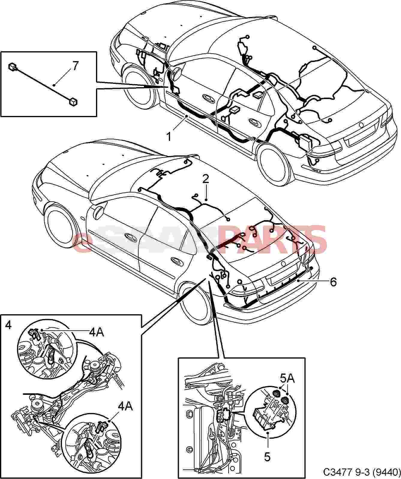 12804652 saab cable harness genuine saab parts from esaabparts com rh  esaabparts com Wiring Diagrams Saab C900 For Saab Starter Wiring Diagram 03