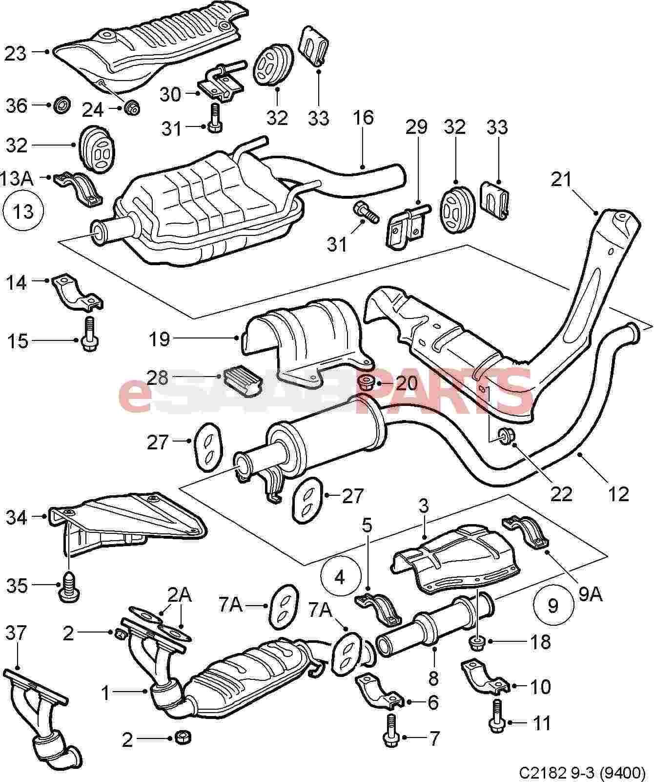 Saab 9 3 Engine Diagram Exhaust Completed Wiring Diagrams Esaabparts Com 9400 U003e Parts Bmw M3
