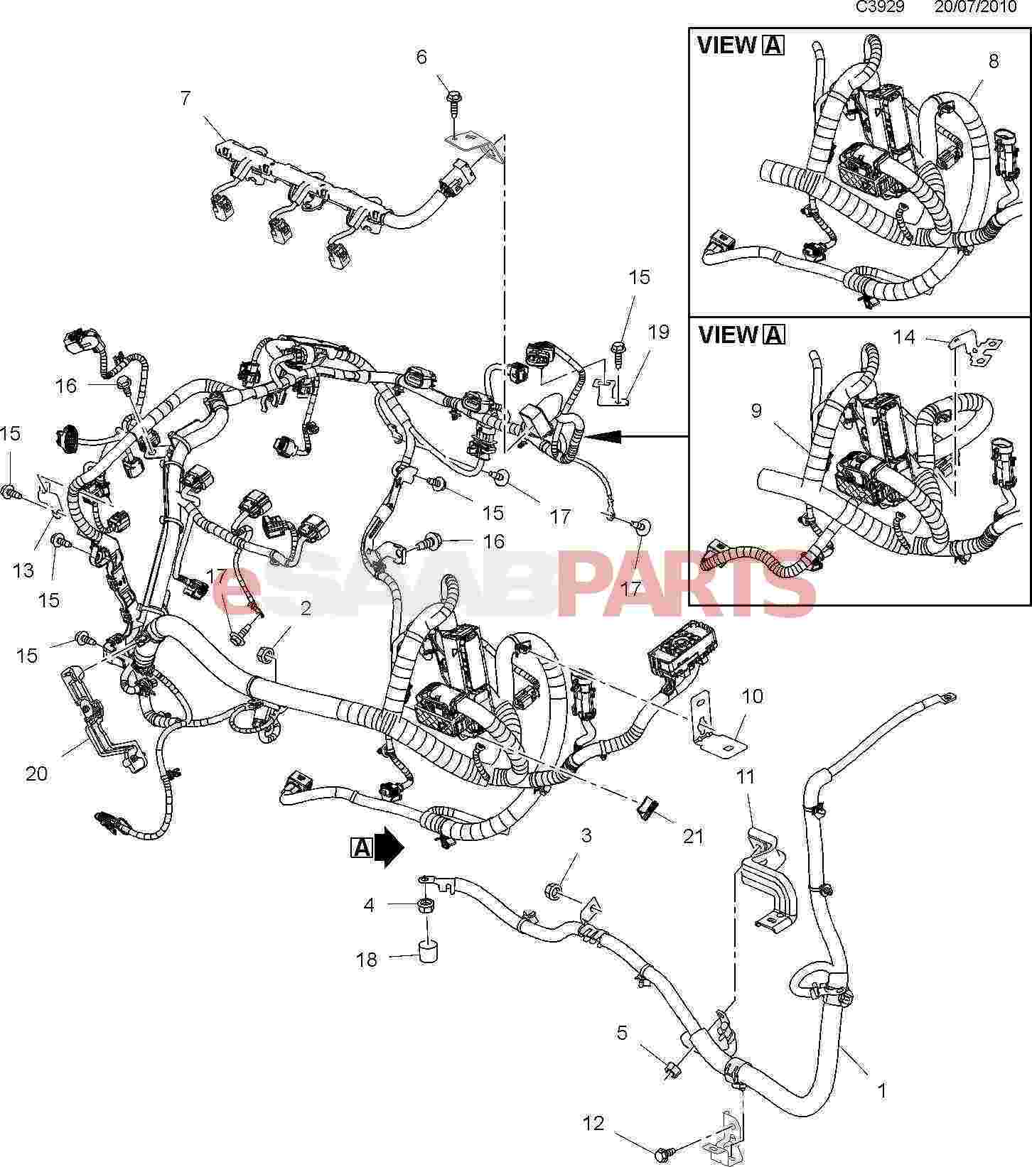 13299909  saab cable harness