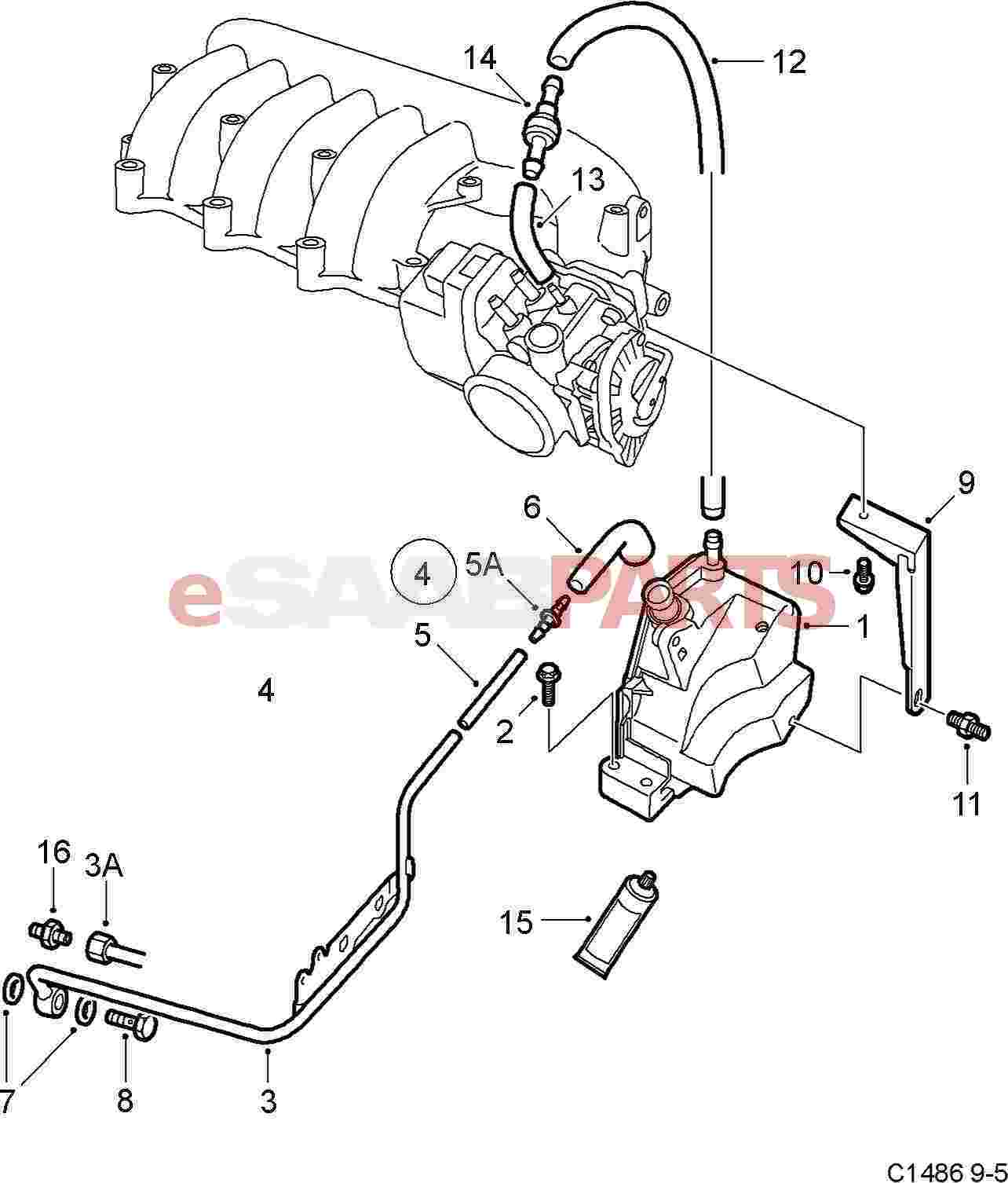 esaabparts com saab 9 5 9600 u003e engine parts u003e pcv crank case rh esaabparts com Saab 2.0 Engine Diagram Saab 900 SE Engine Diagram