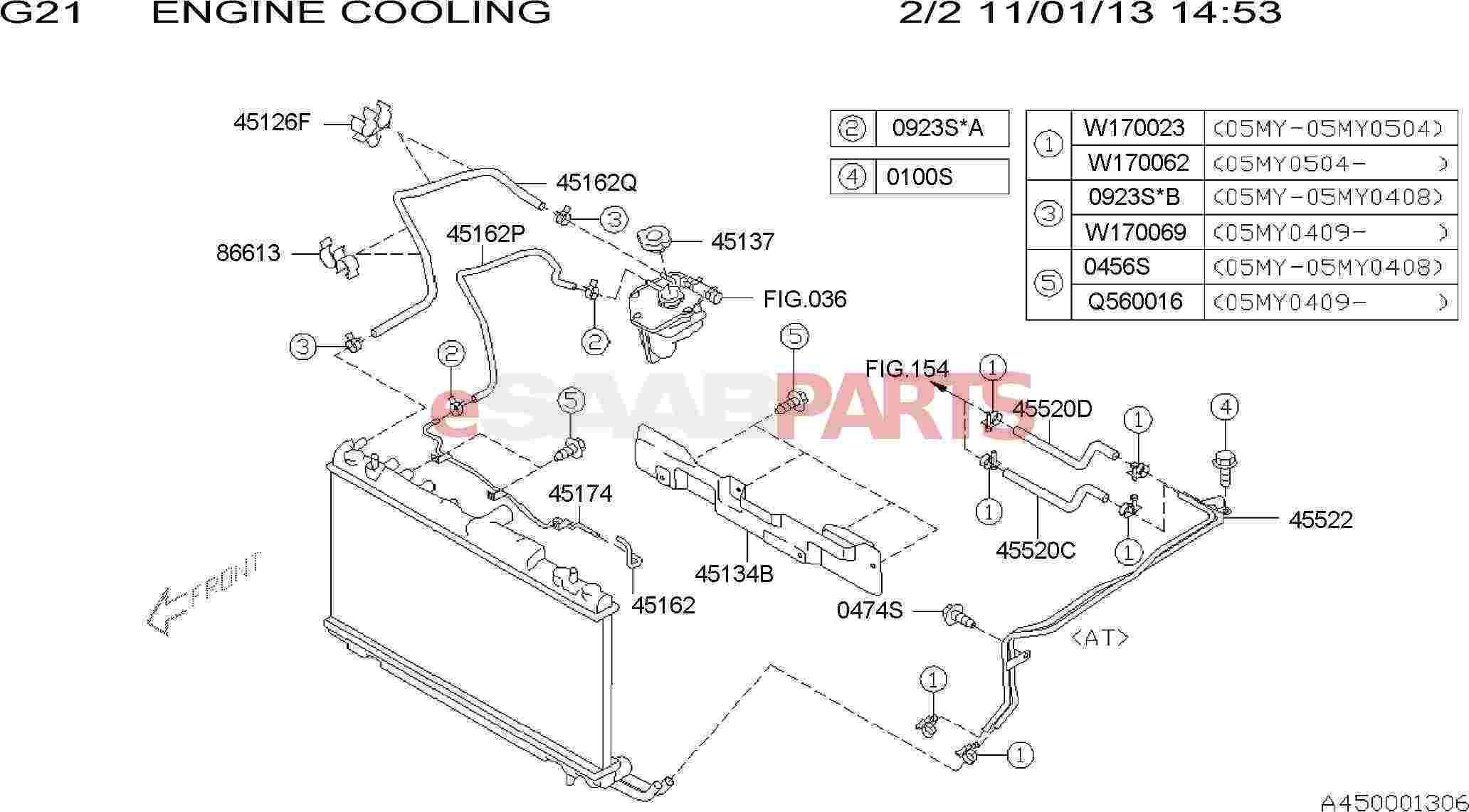 eSaabParts.com - Saab 9-2x > Engine Parts > Heating & Cooling System > ENGINE  COOLING: AT OIL COOLER PIPE & HOSE OVER FLOW