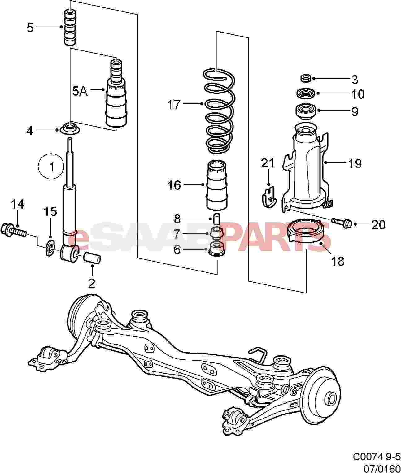 Auto Engine Parts Diagram 5238530 Saab Shock Absorber Kit Genuine From Image 1
