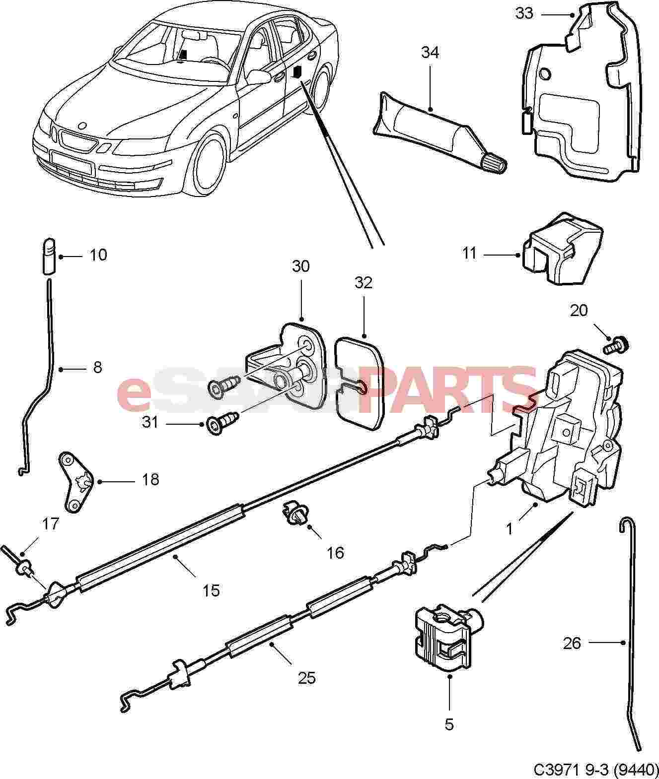 12803481 saab door lock genuine saab parts from esaabparts com rh esaabparts com Saab Parts 1999 Saab 9 3 Amplifier Wiring
