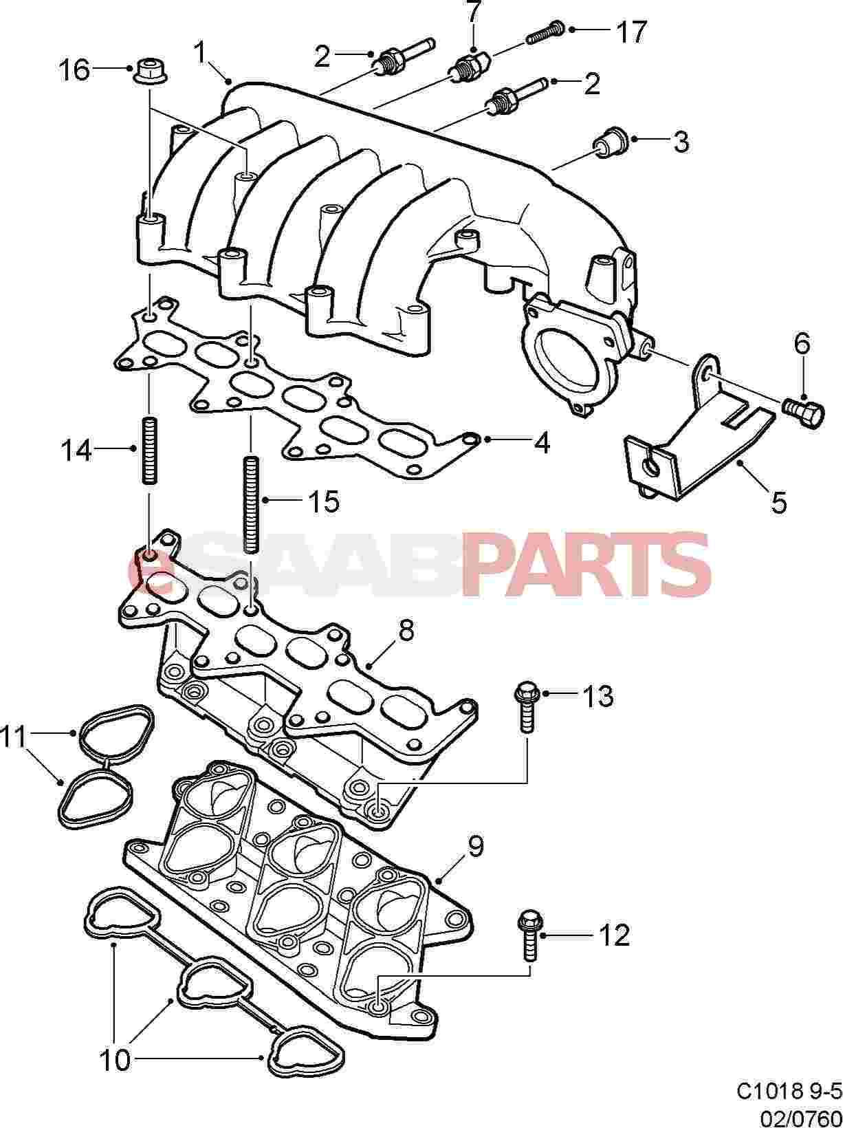 Saab 9 5 Intake Diagram Reinvent Your Wiring 2003 Engine Esaabparts Com 9600 U003e Parts Manifold Rh