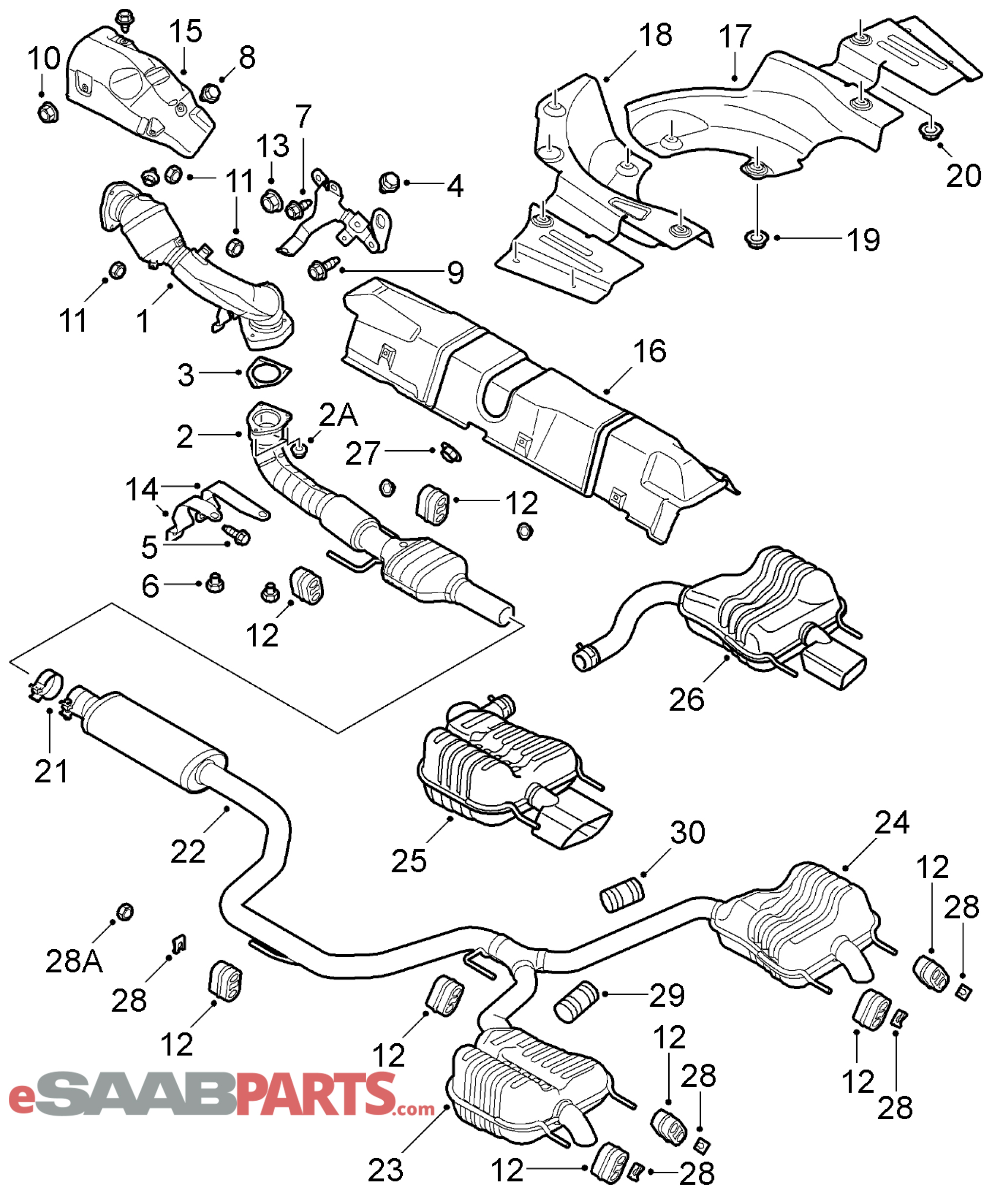 Saab 9 3 Engine Diagram Exhaust Completed Wiring Diagrams Esaabparts Com 9440 U003e Parts System
