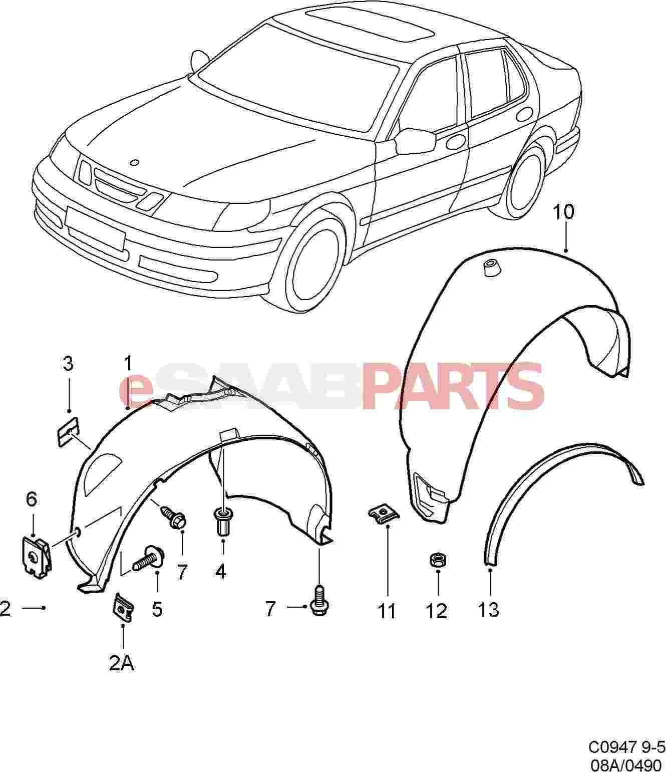 eSaabParts.com - Saab 9-5 (9600) > Car Body: External Parts > Fender ...
