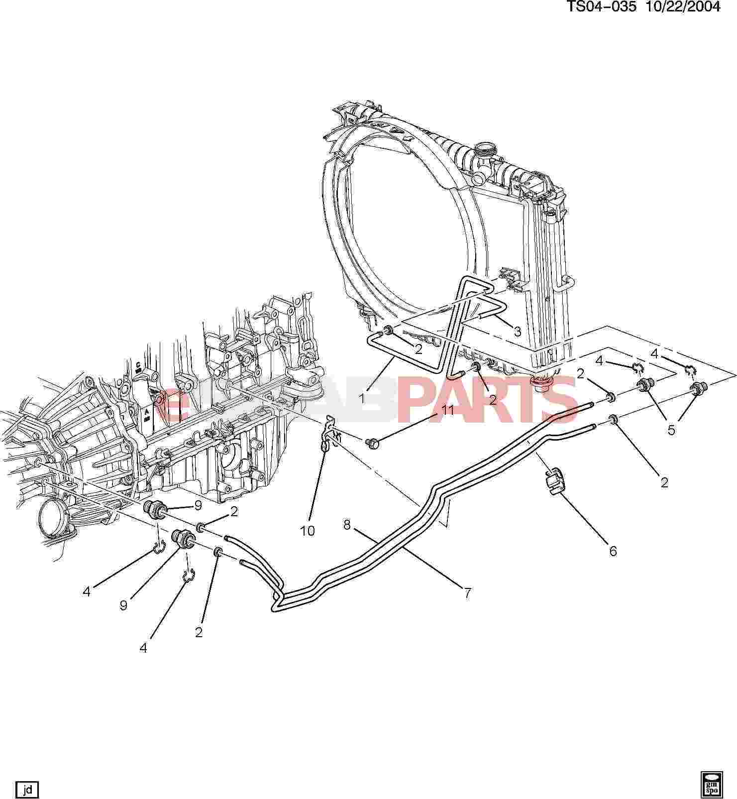 19125677  Saab Fitting  Trans Fluid Clr Pipe
