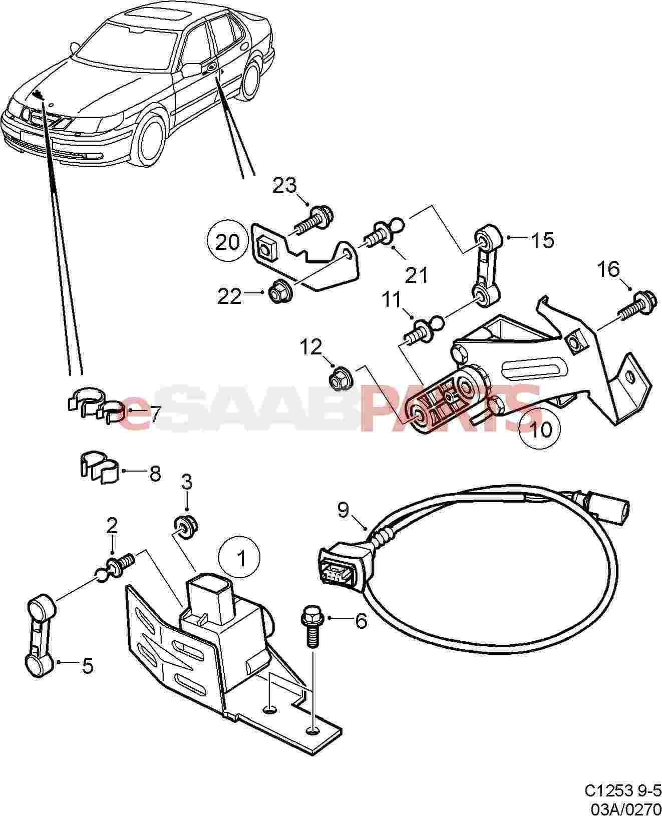 12783353  saab headlight leveling sensor - front  2002-2009