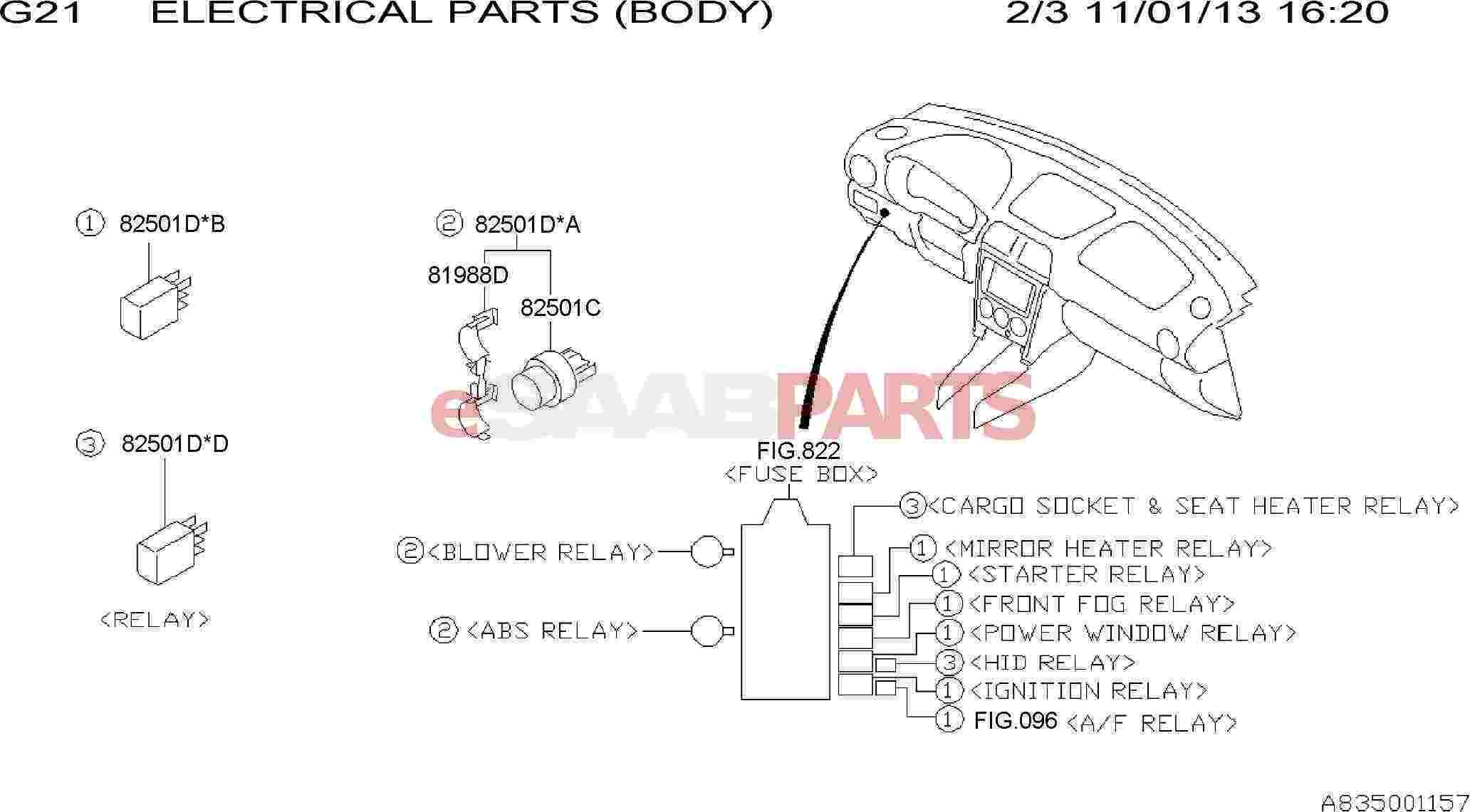 eSaabParts.com - Saab 9-2x > Electrical Parts > Electrical Relays >  ELECTRICAL PARTS (BODY): RELAY
