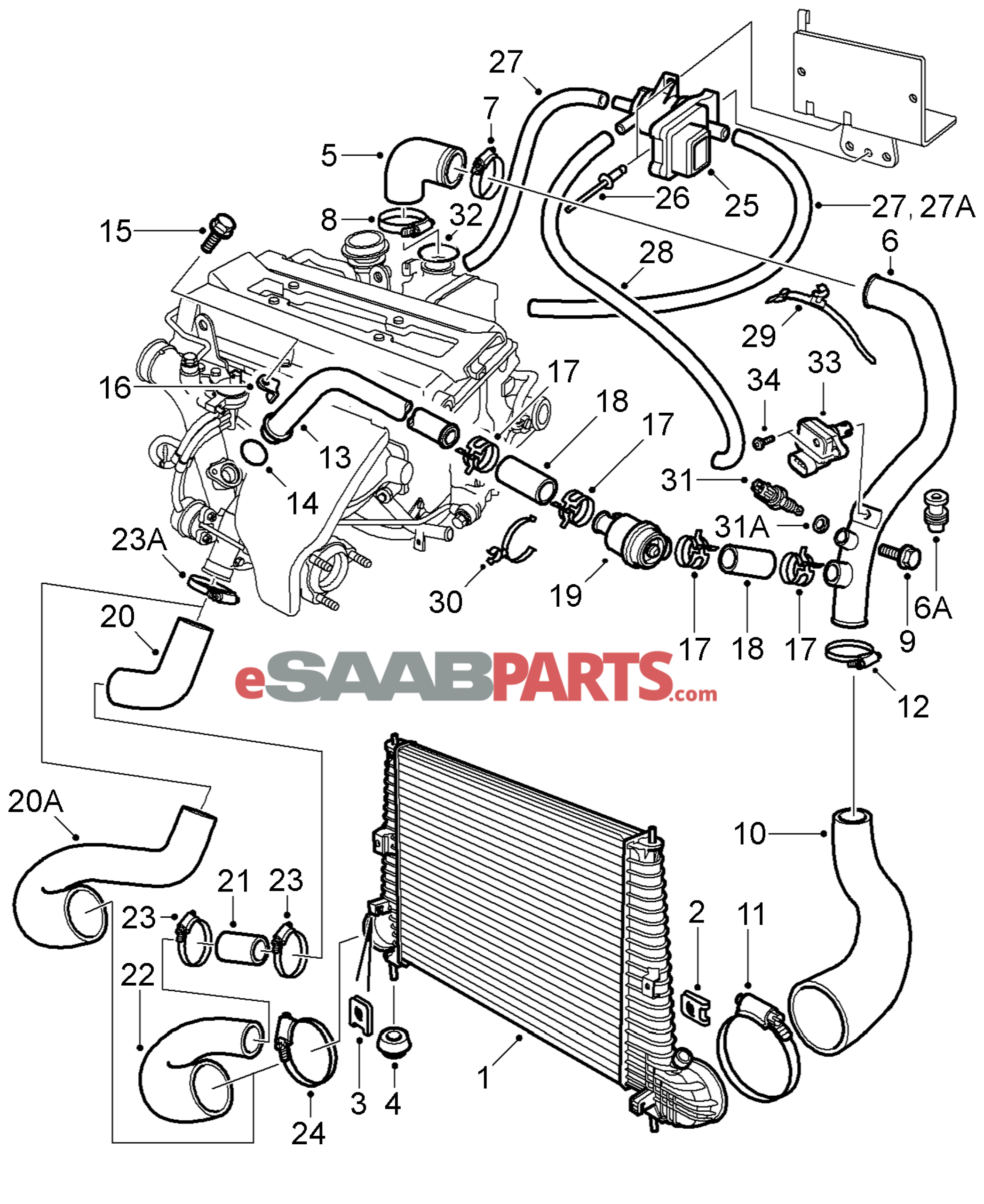 saab 9 3 engine diagram [55562854] saab vacuum valve - genuine saab parts from ...