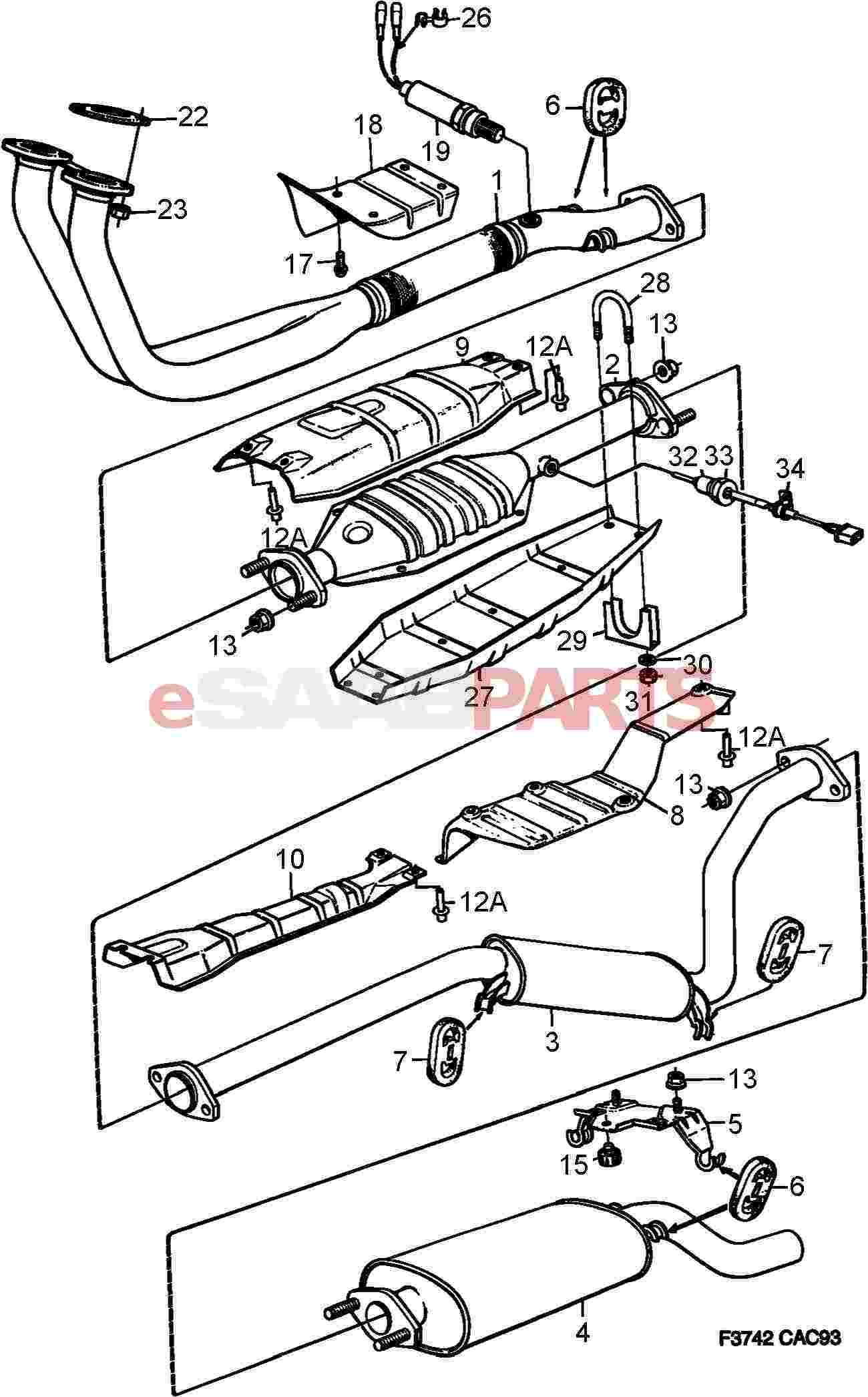 11900429 saab nut genuine saab parts from esaabparts com rh esaabparts com saab 93 exhaust diagram saab 9000 exhaust system diagram