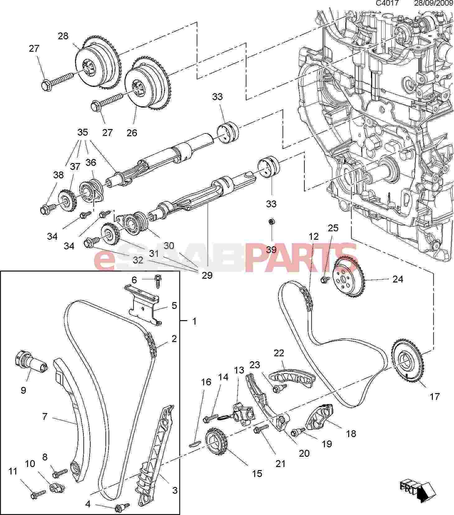 13104978  saab guide - timing chain